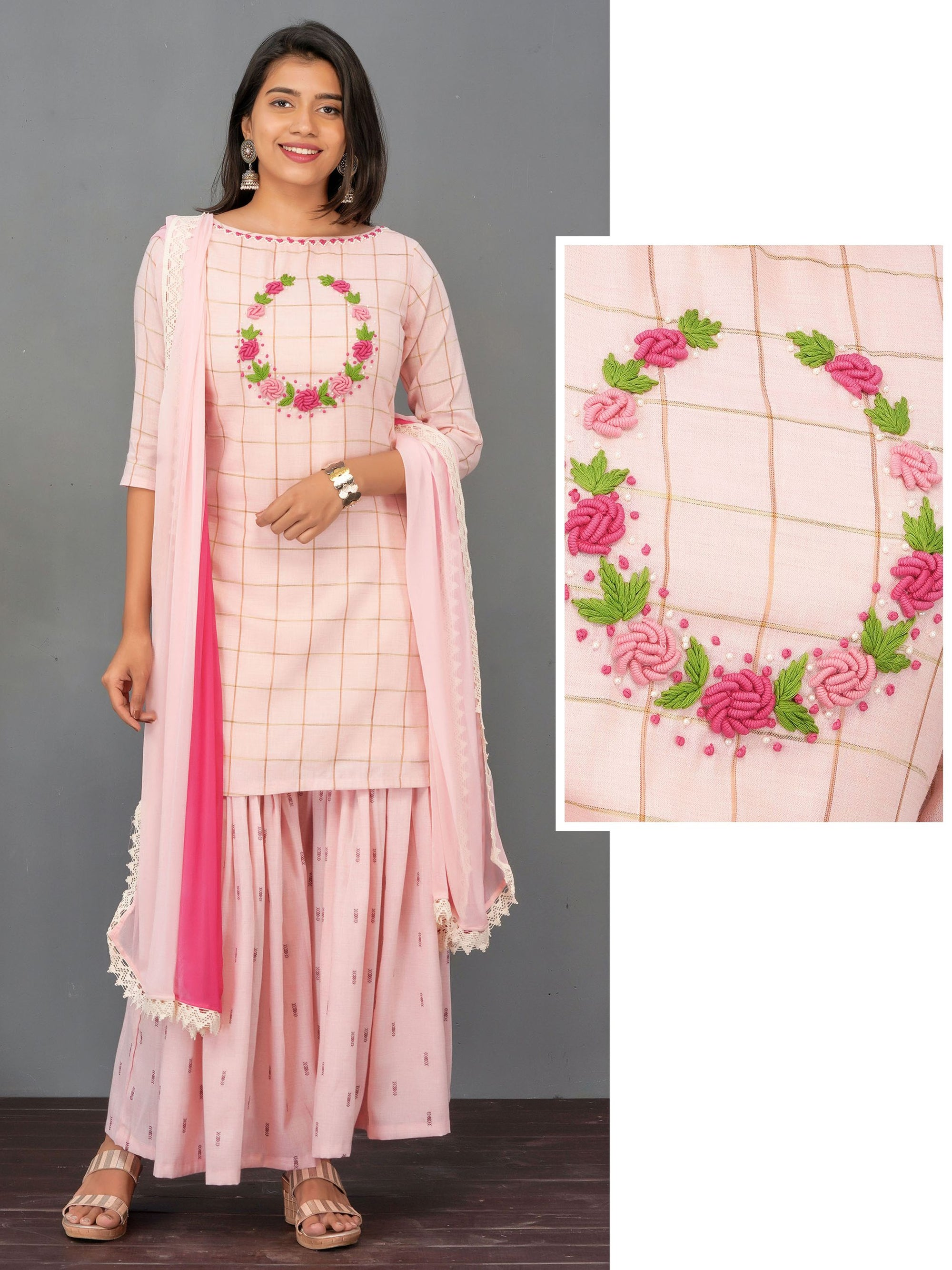 Bullion Knot Wreath Embroidered Kurti, Sharara & Dupatta Set – Baby Pink
