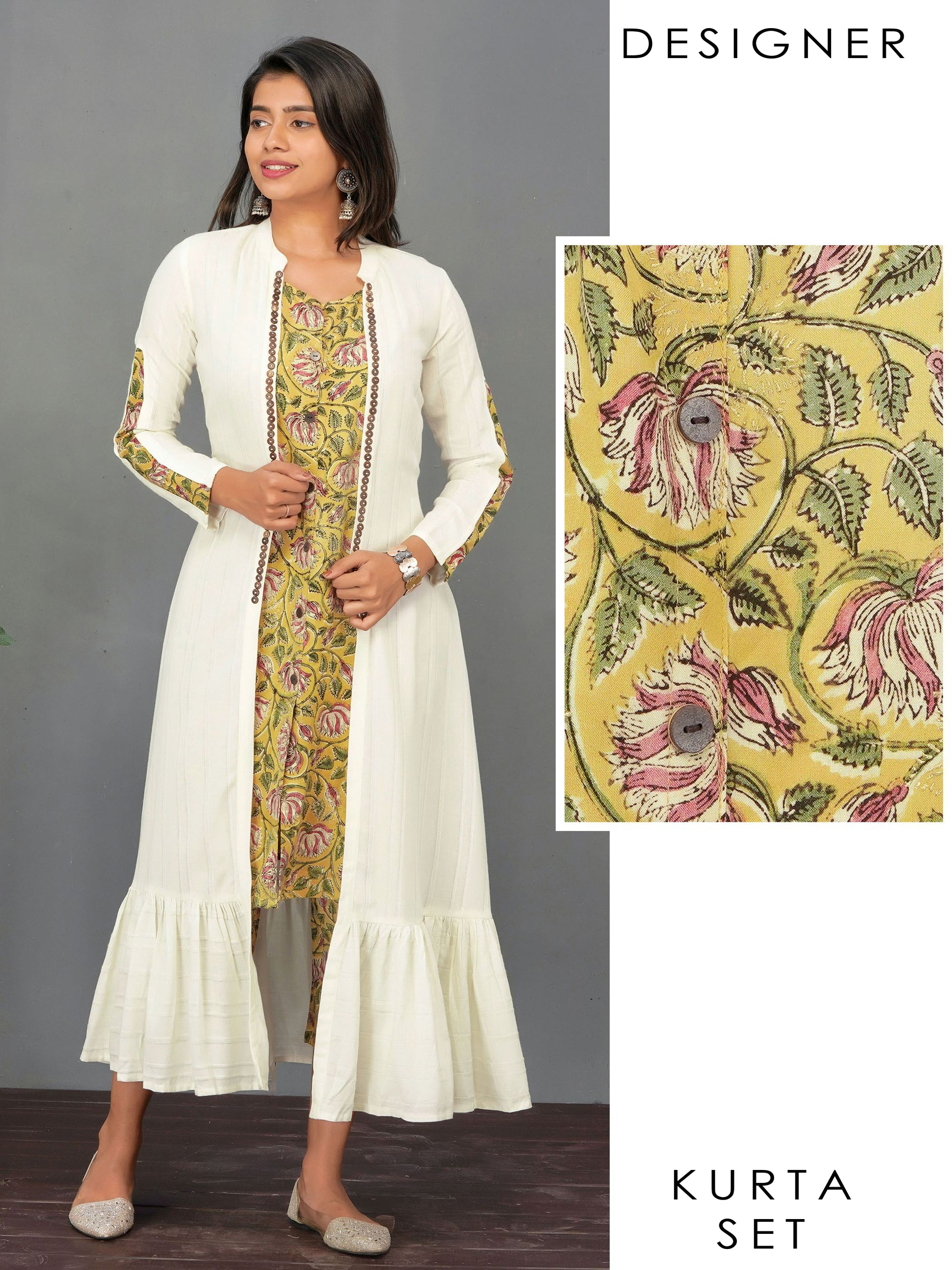 Floral Printed A-Line Kurti & Pant with Solid Tiered Jacket