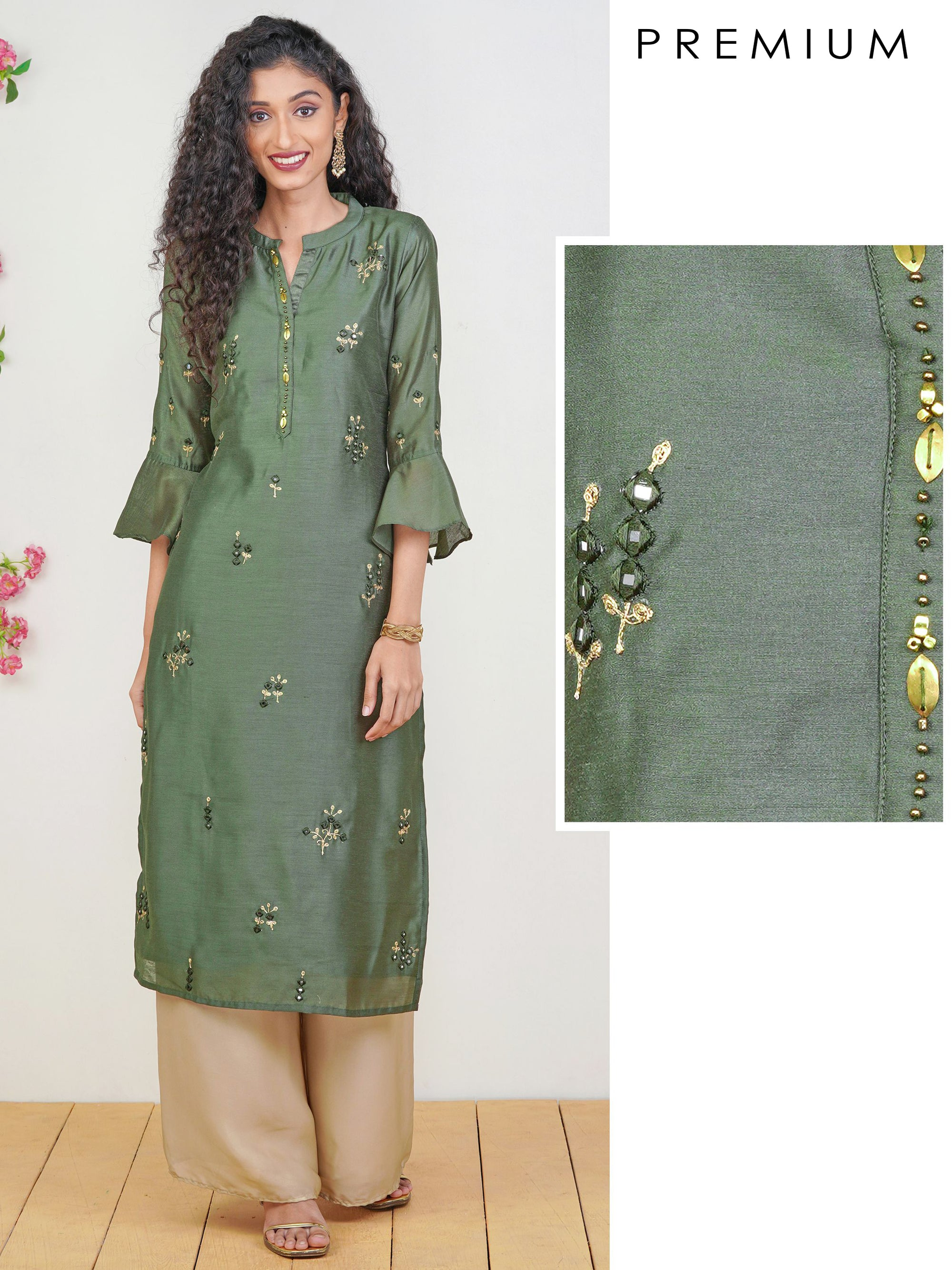 Mirror work & Cord Embroidered Premium Raw Silk Kurti