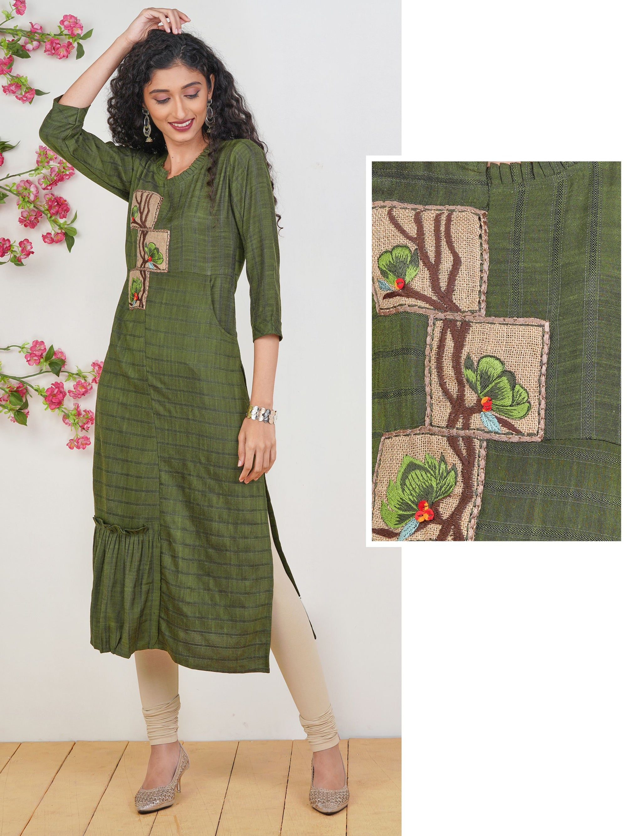 Floral Jute Embroidered Chevron Striped Kurti – Army Green