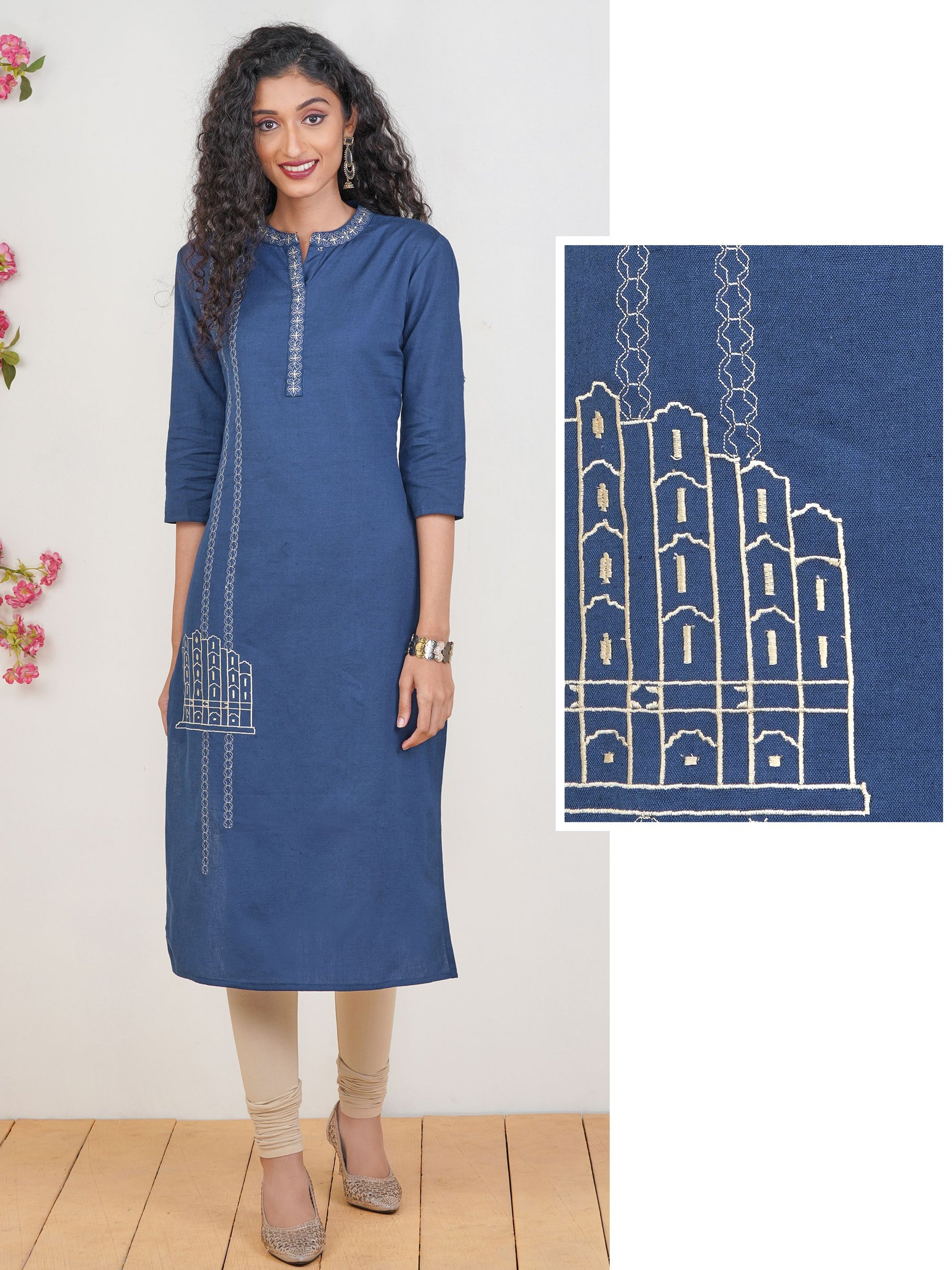 Minimal Embroidered Cotton Kurti – Teal Blue