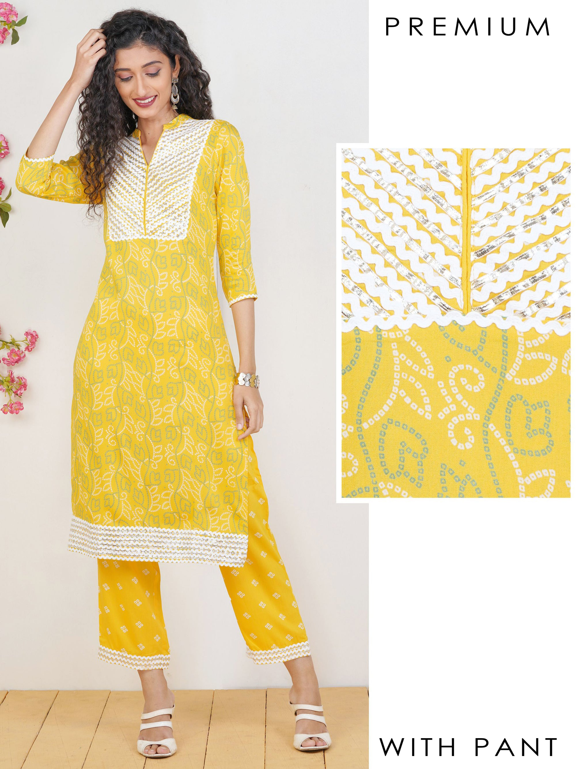 Serpentine & Gota Lace Detailed Kurti & Bandhani Pant Set – Yellow