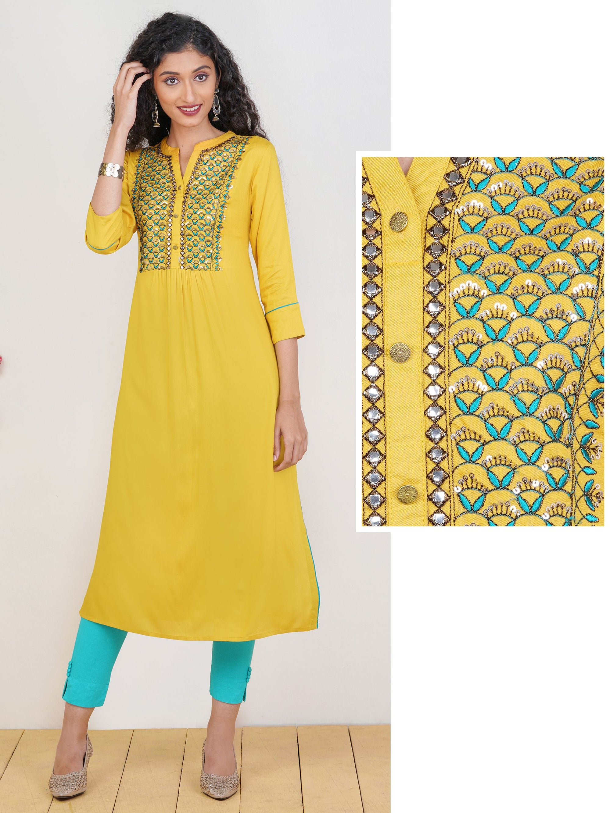 Sequins & Leaf Embroidered Rayon Kurti – Mustard