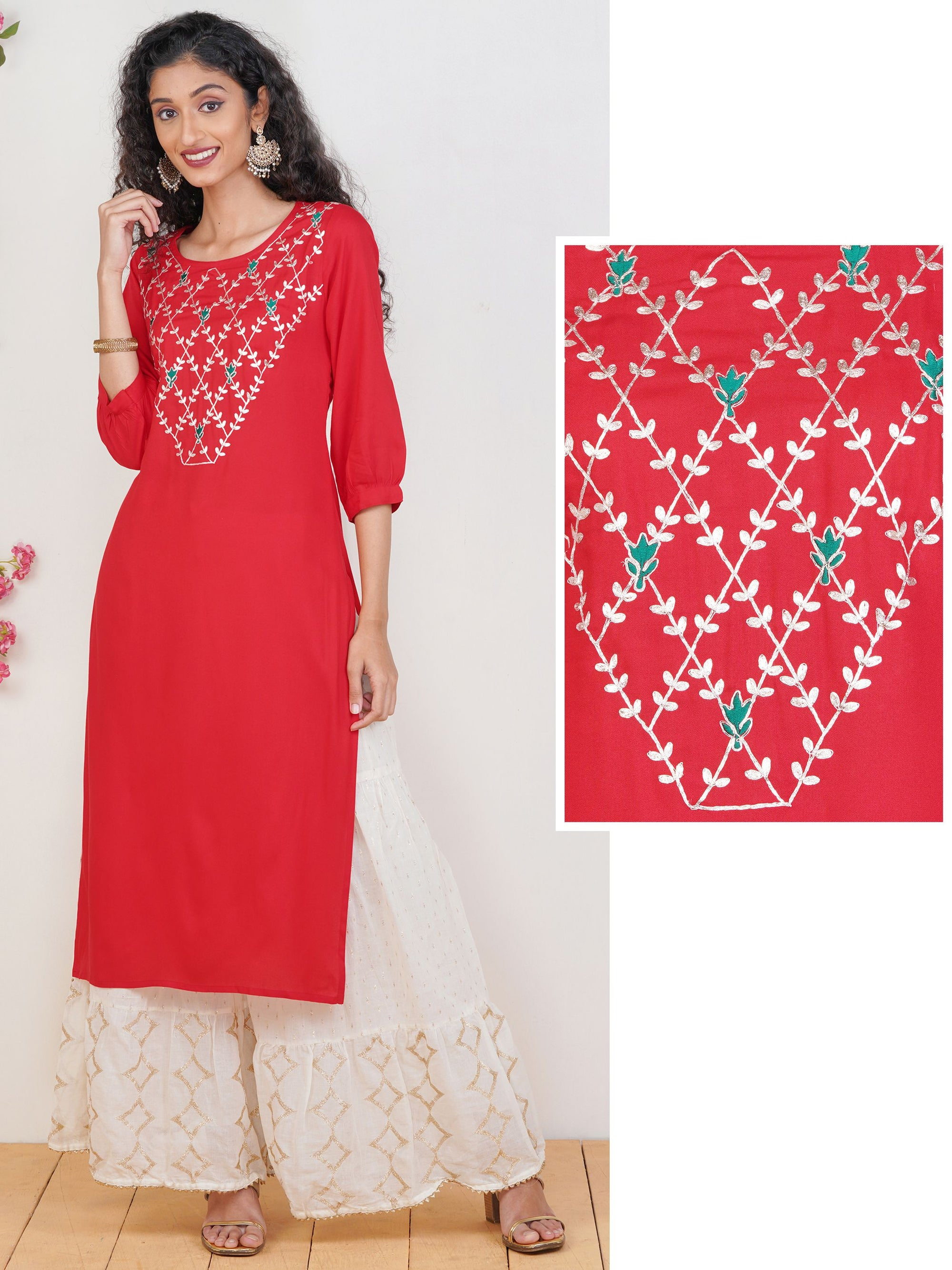 Zari Cord Embroidered Rayon Kurti – Red