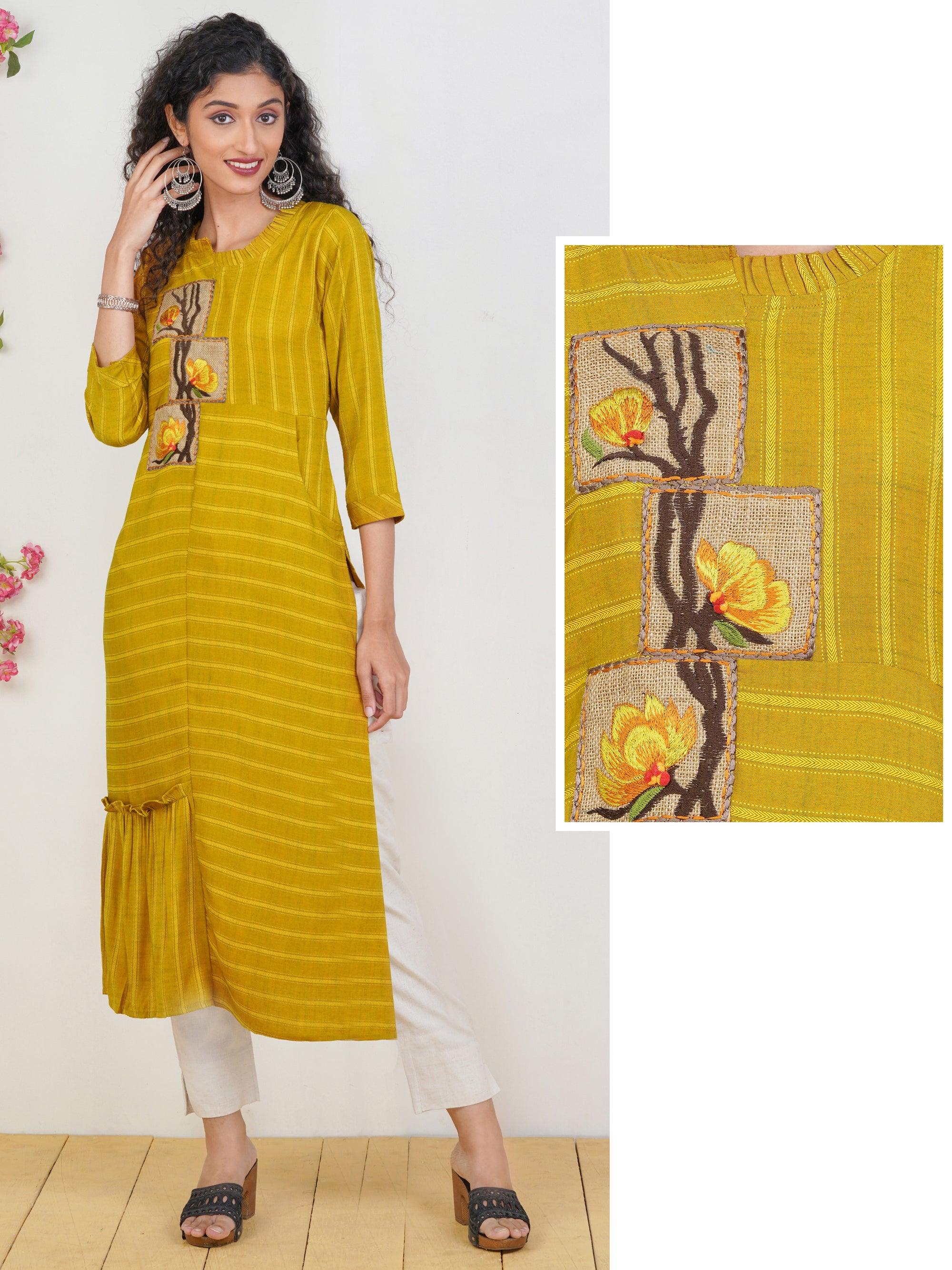 Floral Jute Embroidered Chevron Striped Kurti – Mustard
