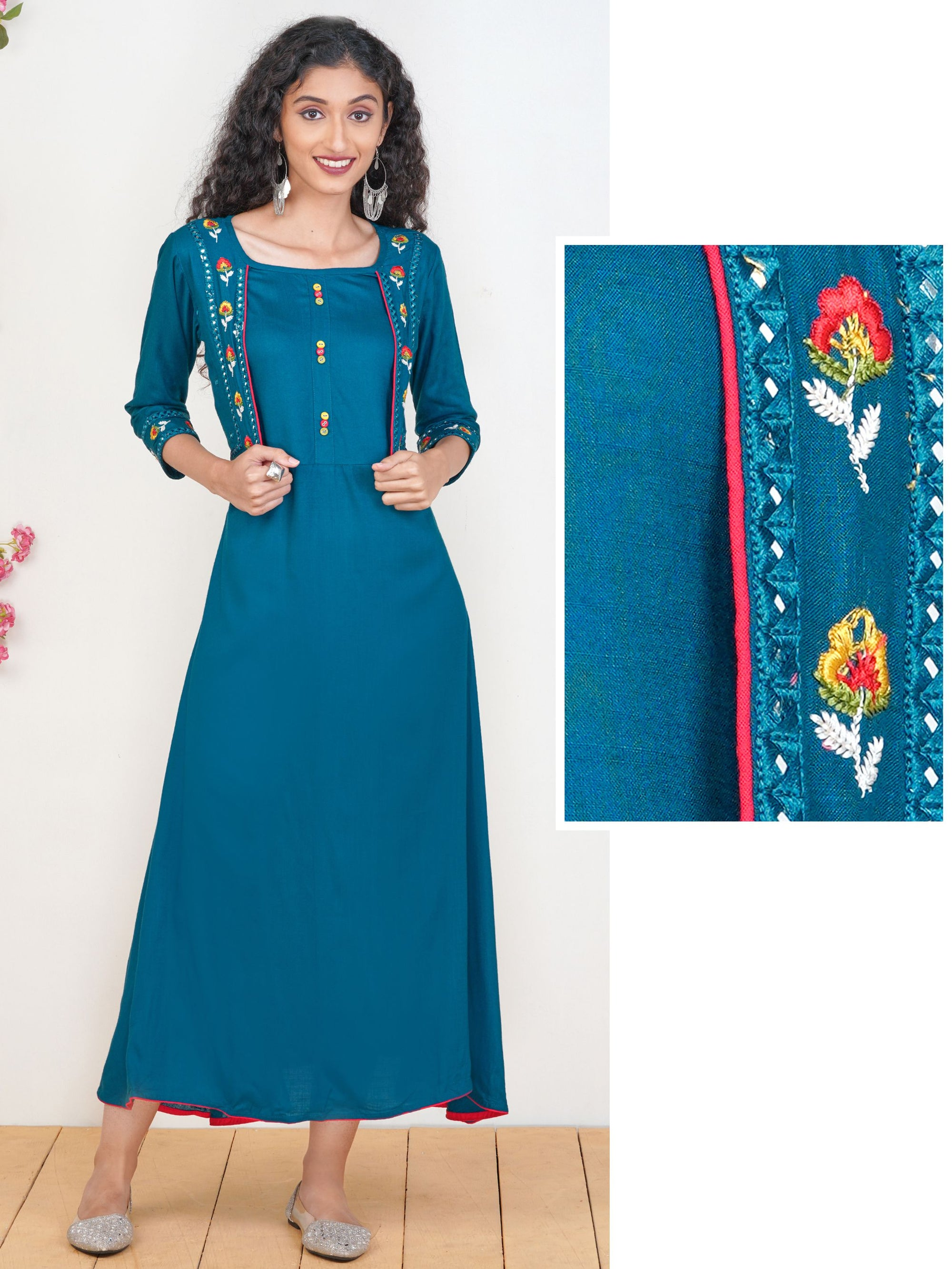 Foil Mirror work & Floral Embroidered Maxi – Teal Blue