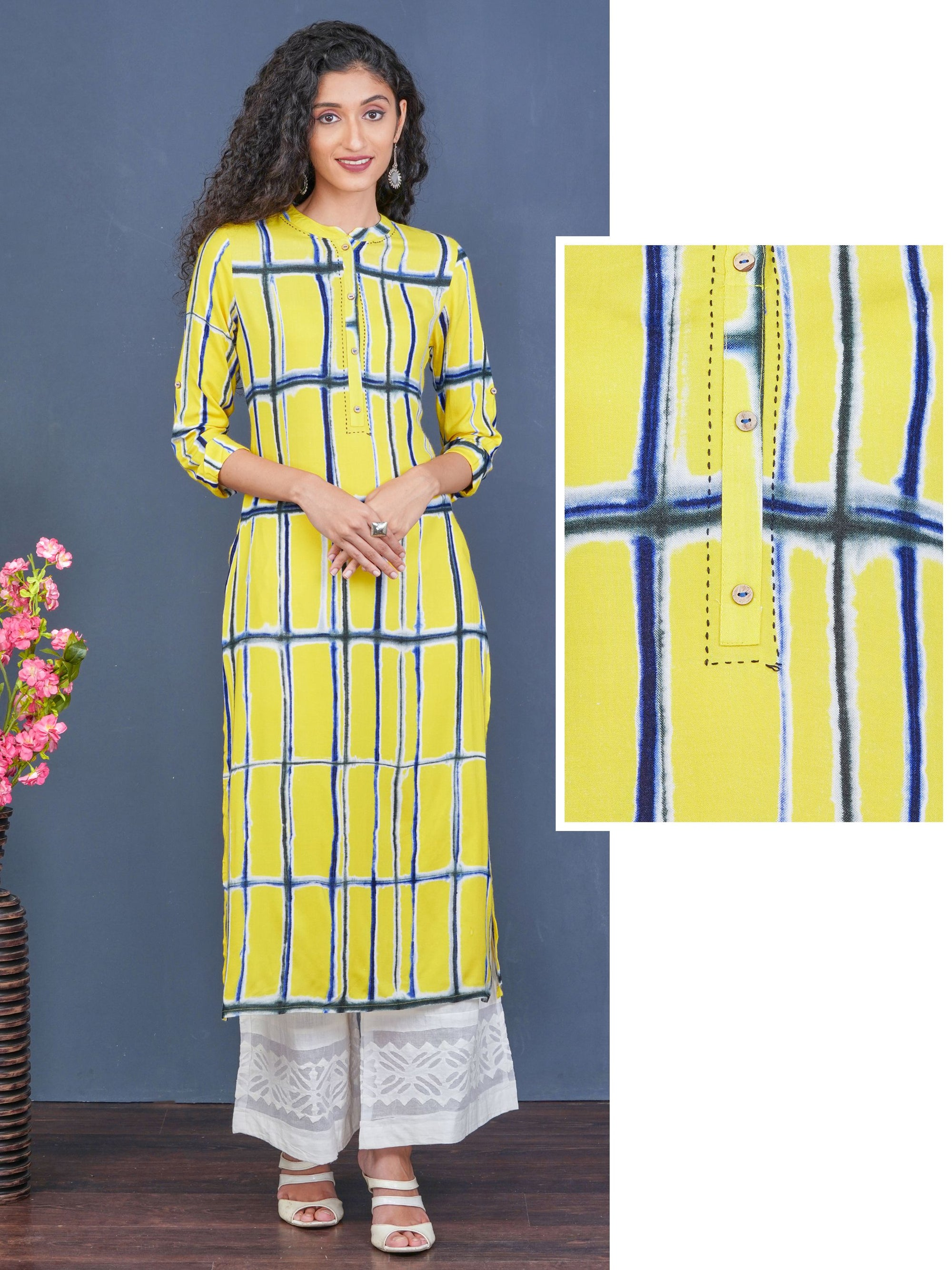 Abstract Checkered Premium Rayon Kurti