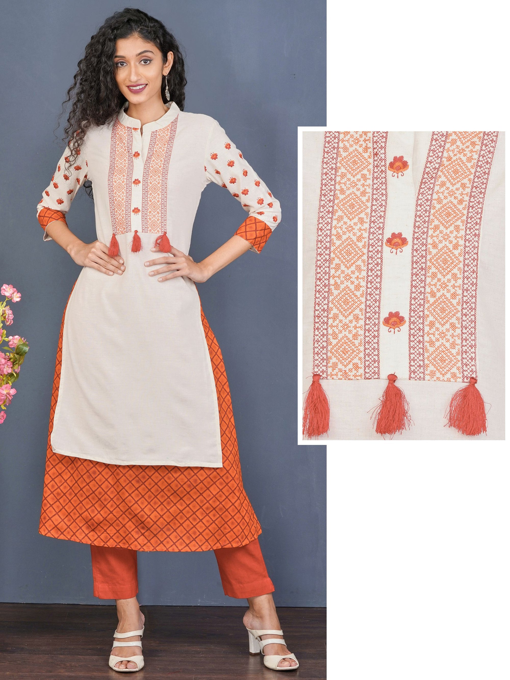 Cross Stitch & Floral Embroidered Layer Kurti – Off-White