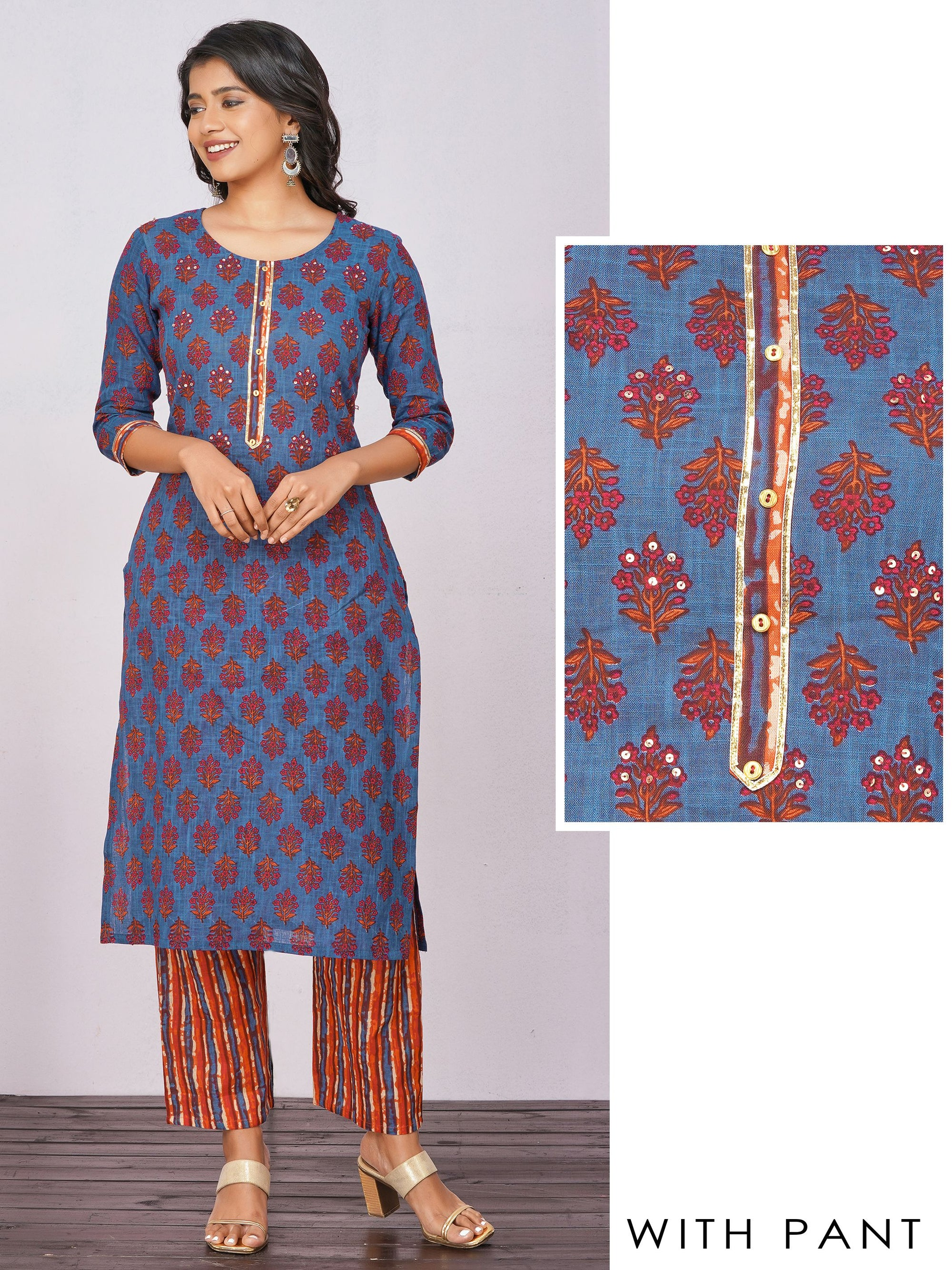 Sequins & Gota Embellished Floral Kurti with Vertical Striped Pant