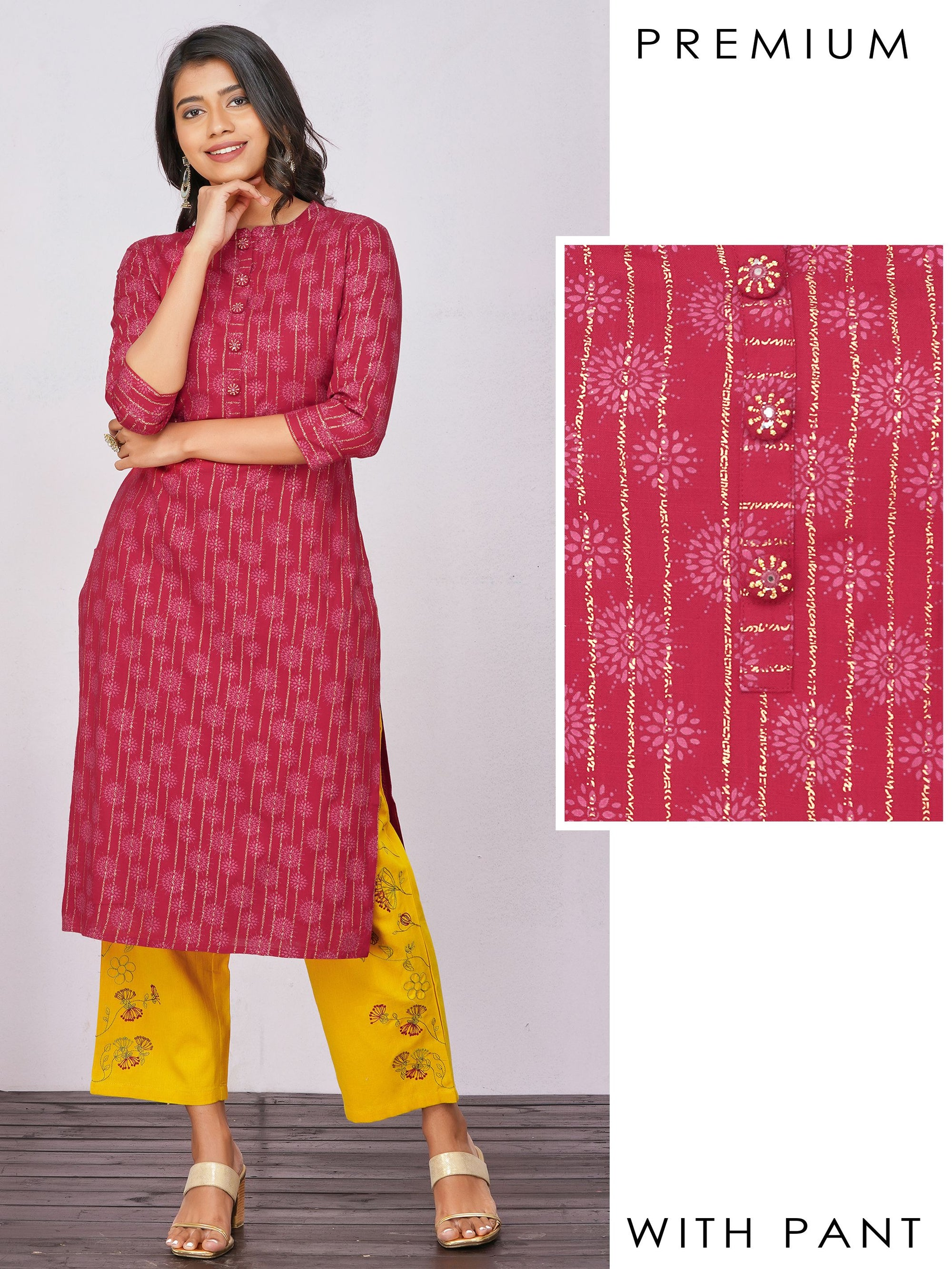 Khari Striped & Floral Block Printed Kurti with Embroidered Pant