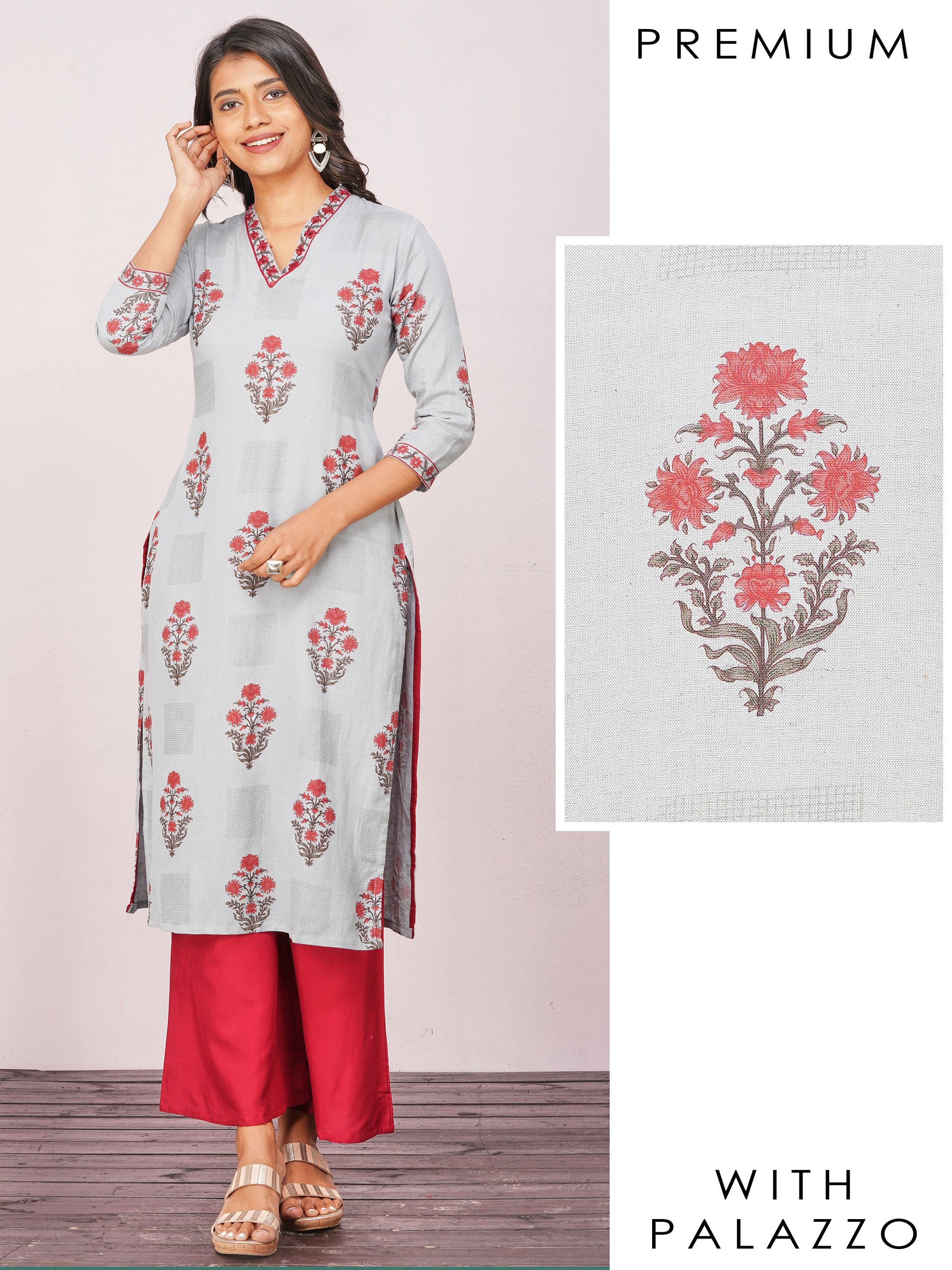 Minimal Checkered & Floral printed Kurti with Solid Palazzo
