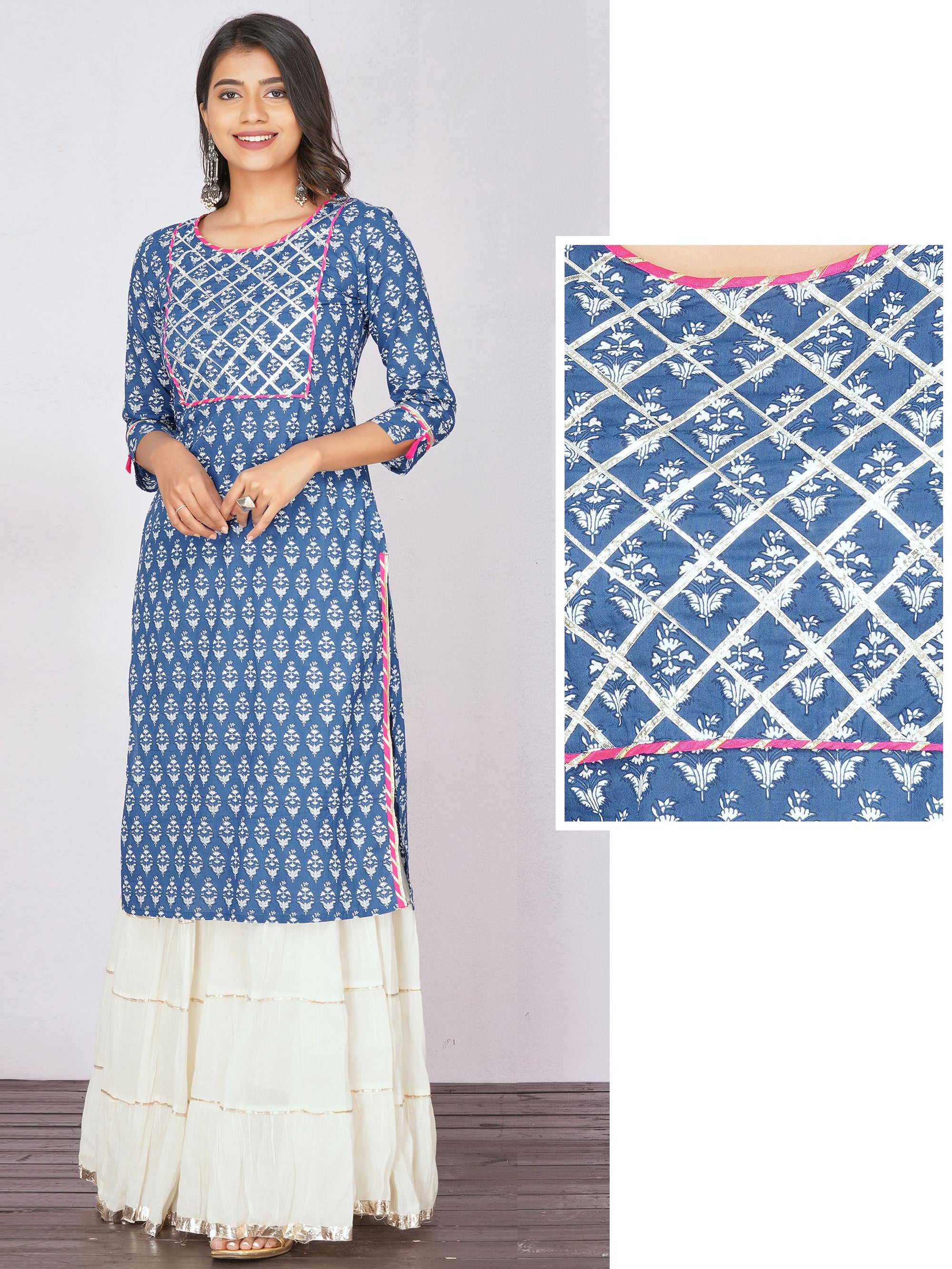 Straight Kurti with Gota Lace Work