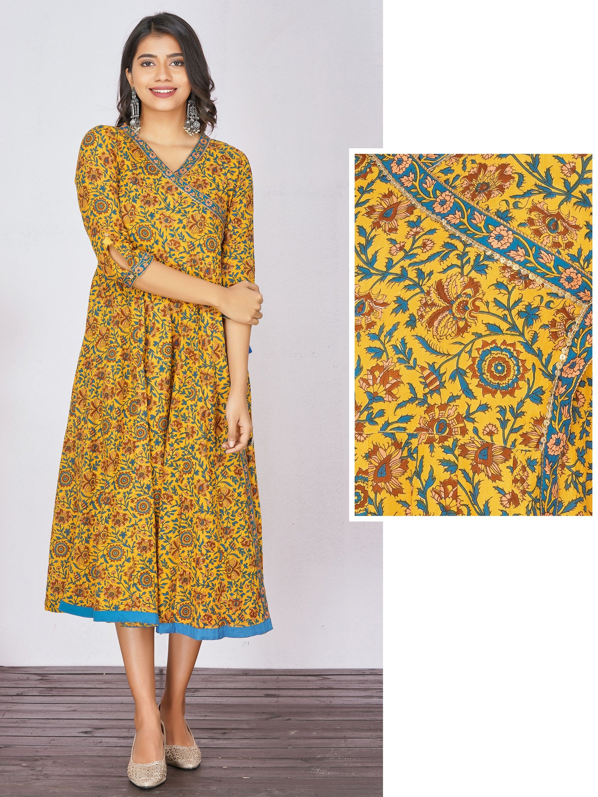 Ditsy Floral Printed Wrap Around Maxi– Mustard