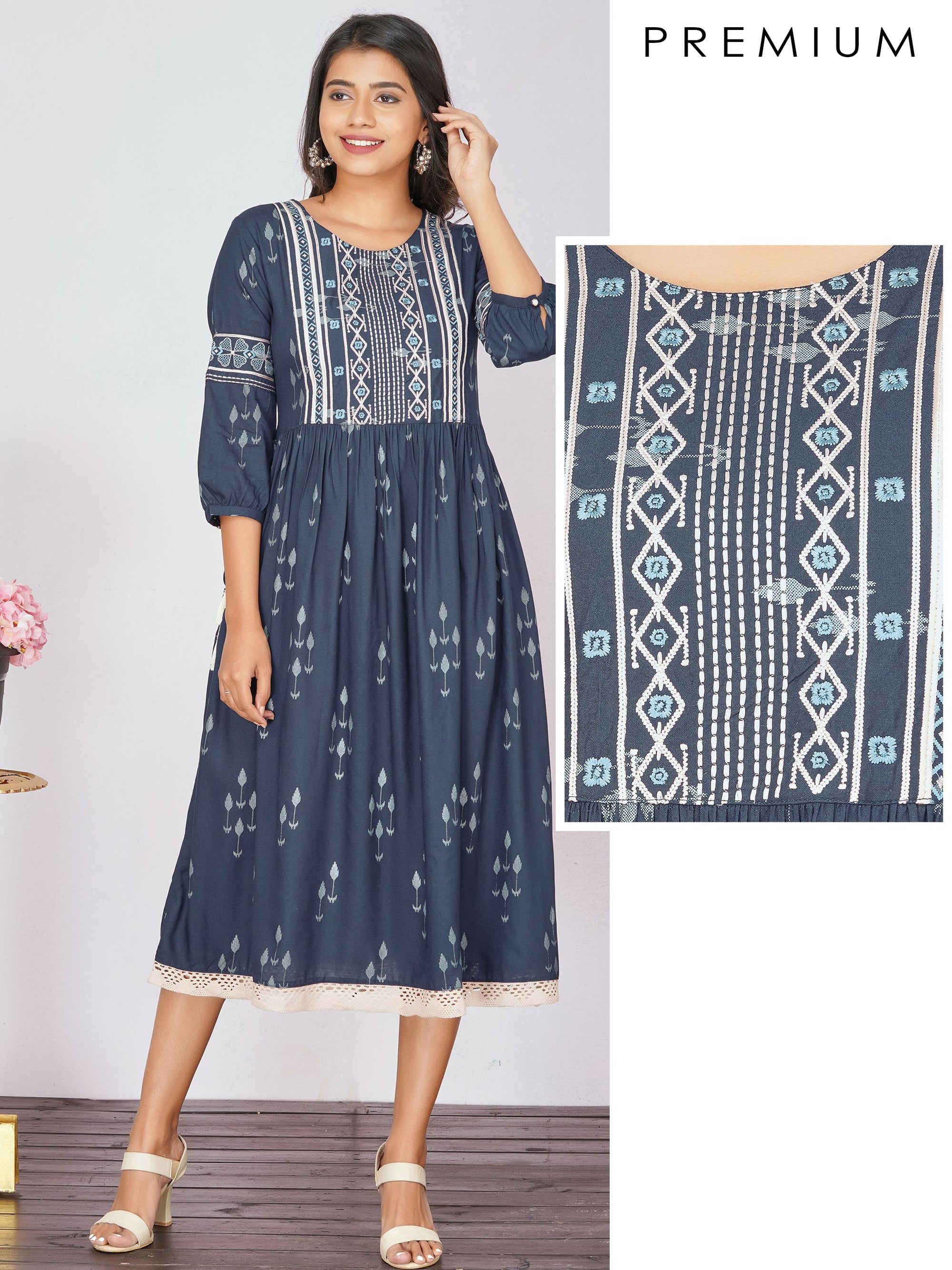 Ikkat printed Maxi with Embroidery