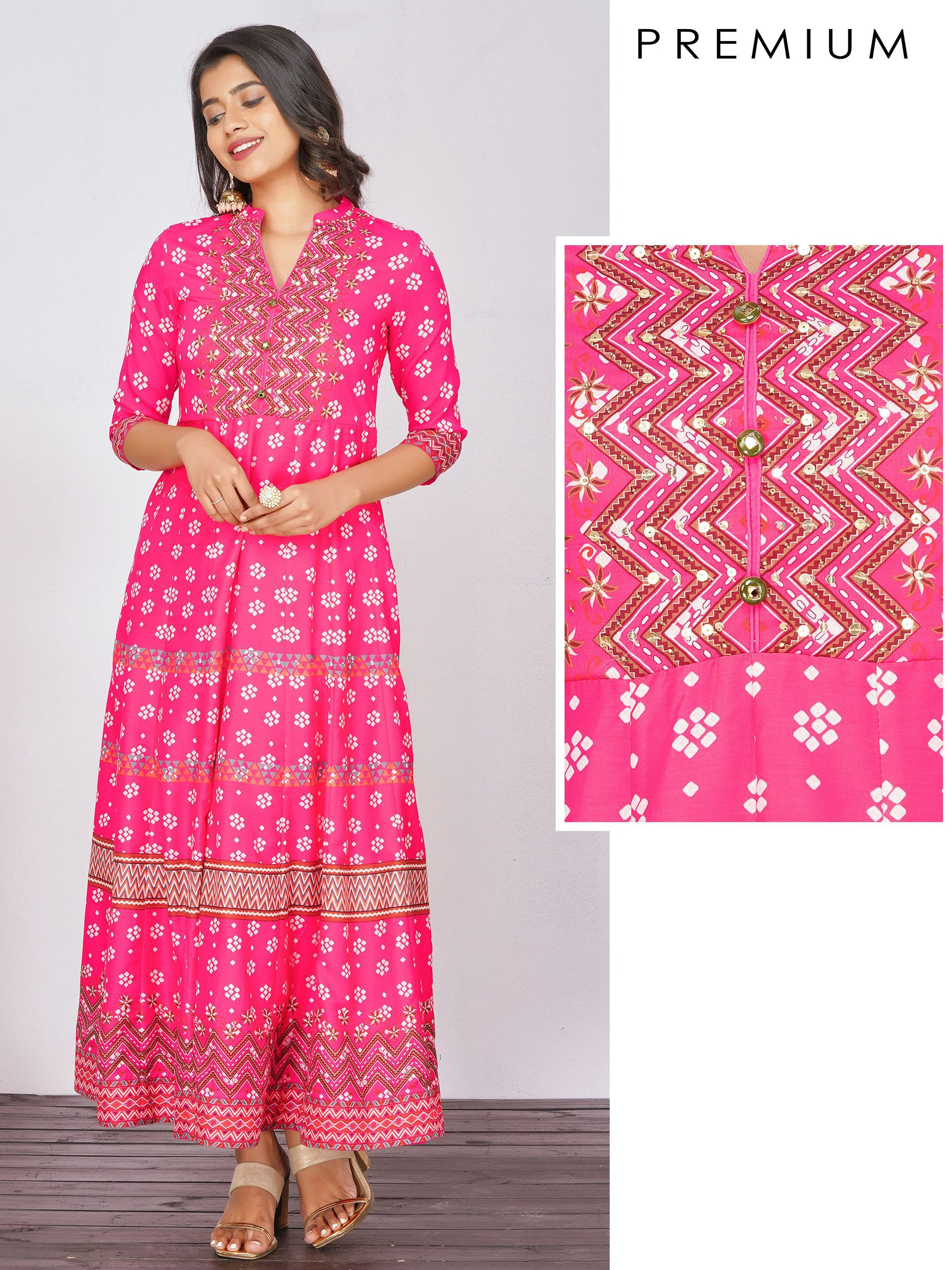 Sequins Adorned, Chevron Printed Premium Anarkali