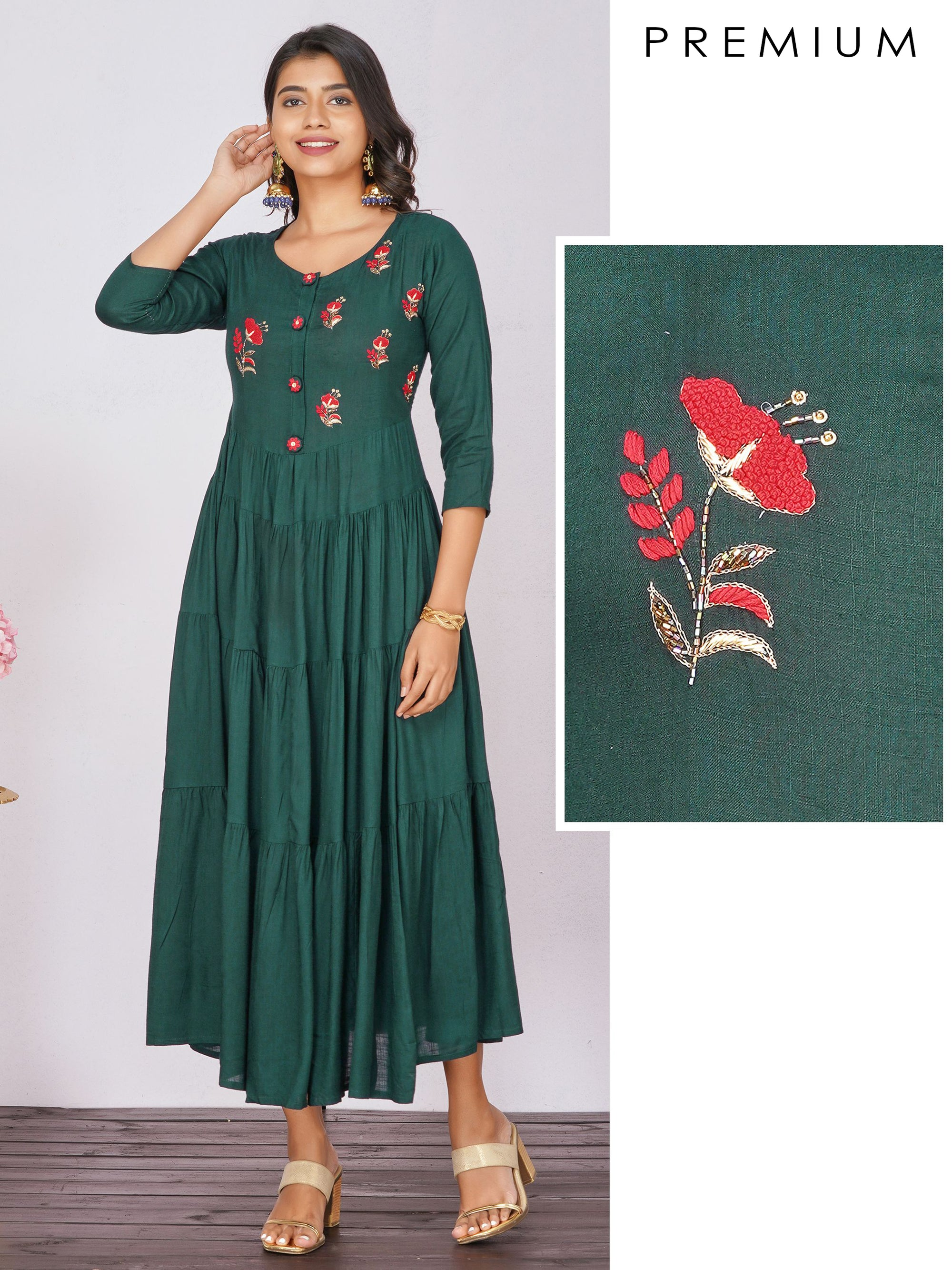 Gathered Maxi with Hand Embroidery – Bottle Green