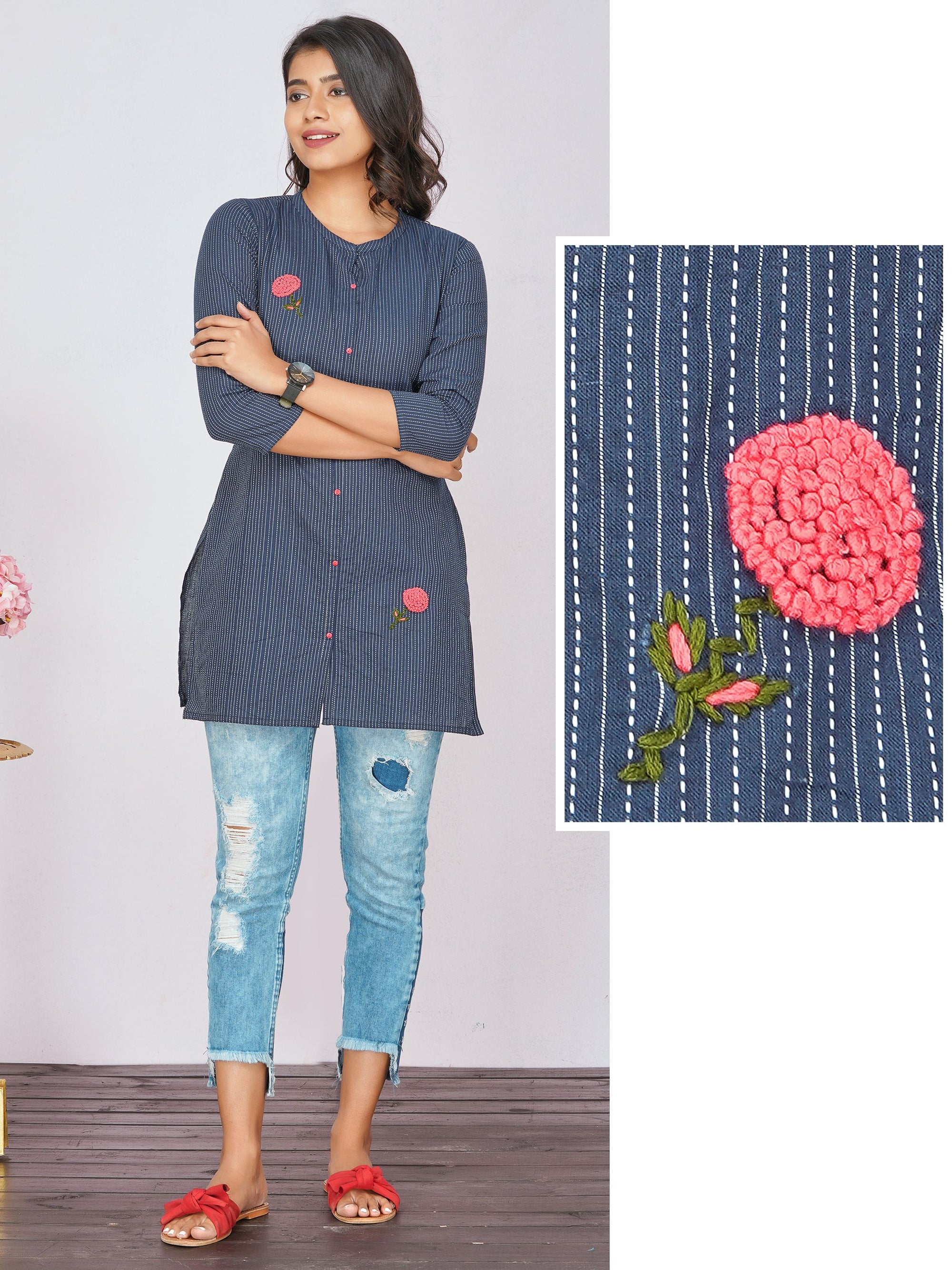 Short Kurti with Hand Embroidery