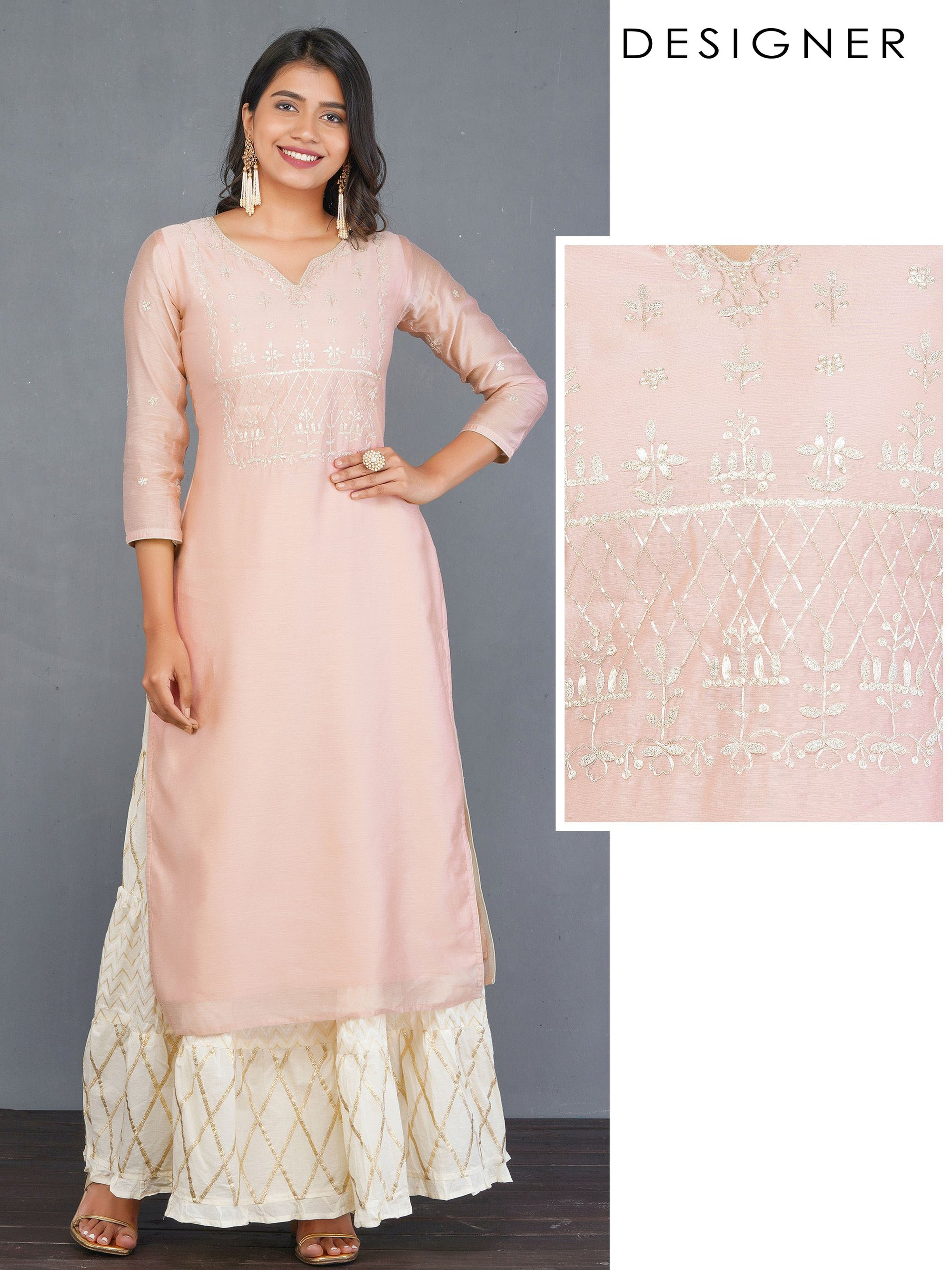 Zari Cord Embroidered Designer Ethnic Kurti – Peach
