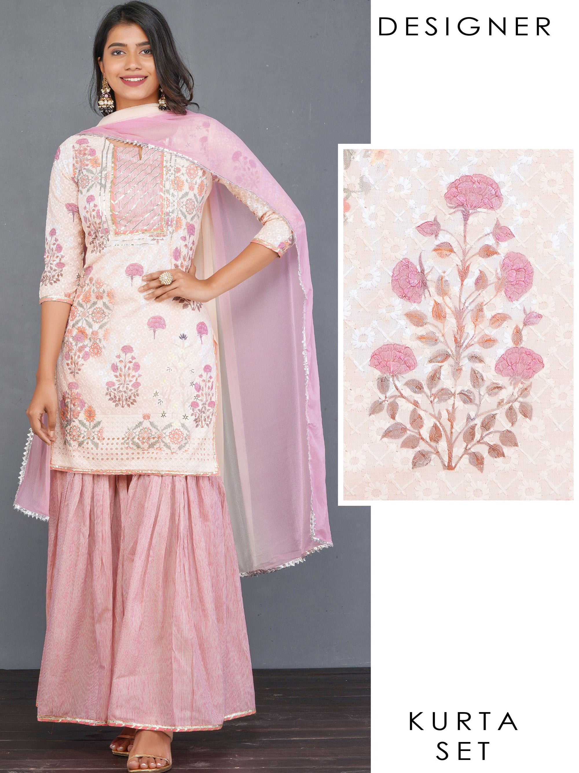 Floral, Hakoba Embroidered Kurti , Pin Striped Sharara & Ombre Dupatta Set