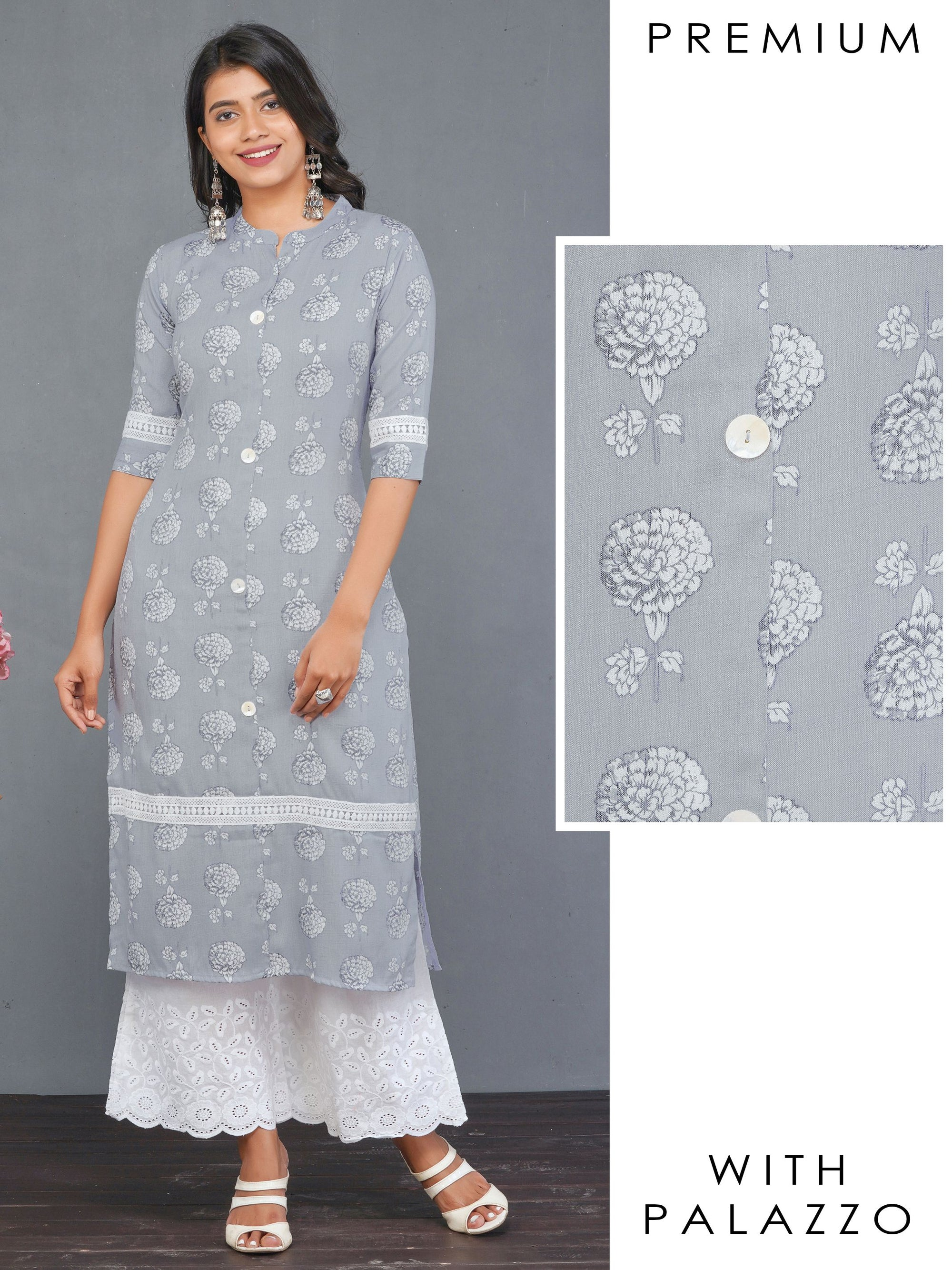 Floral Printed Crochet Lace Kurti & Scallop Embroidered Palazzo Set – Grey