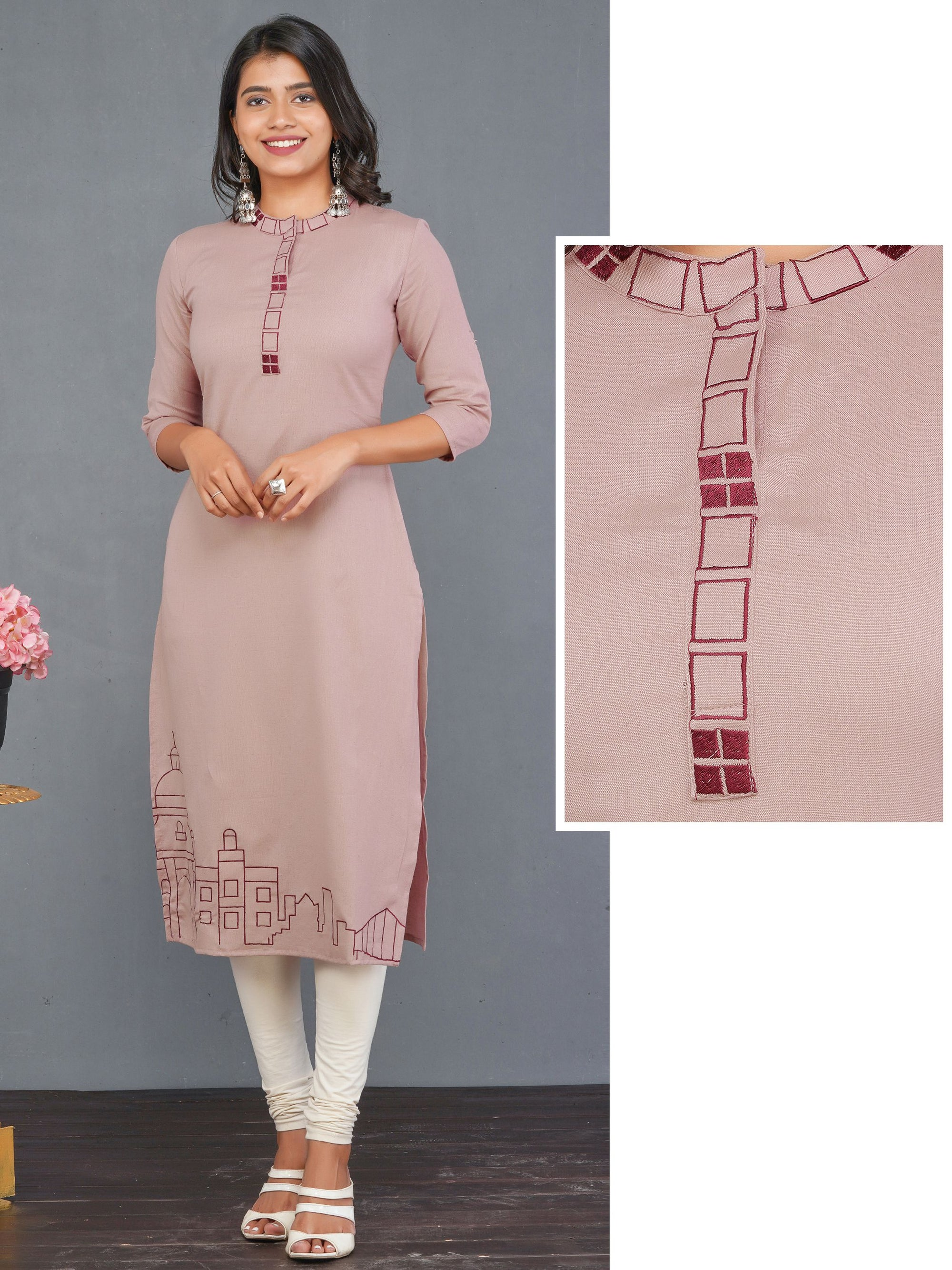 Straight Kurti with Embroidery on Placket – Rose Gold