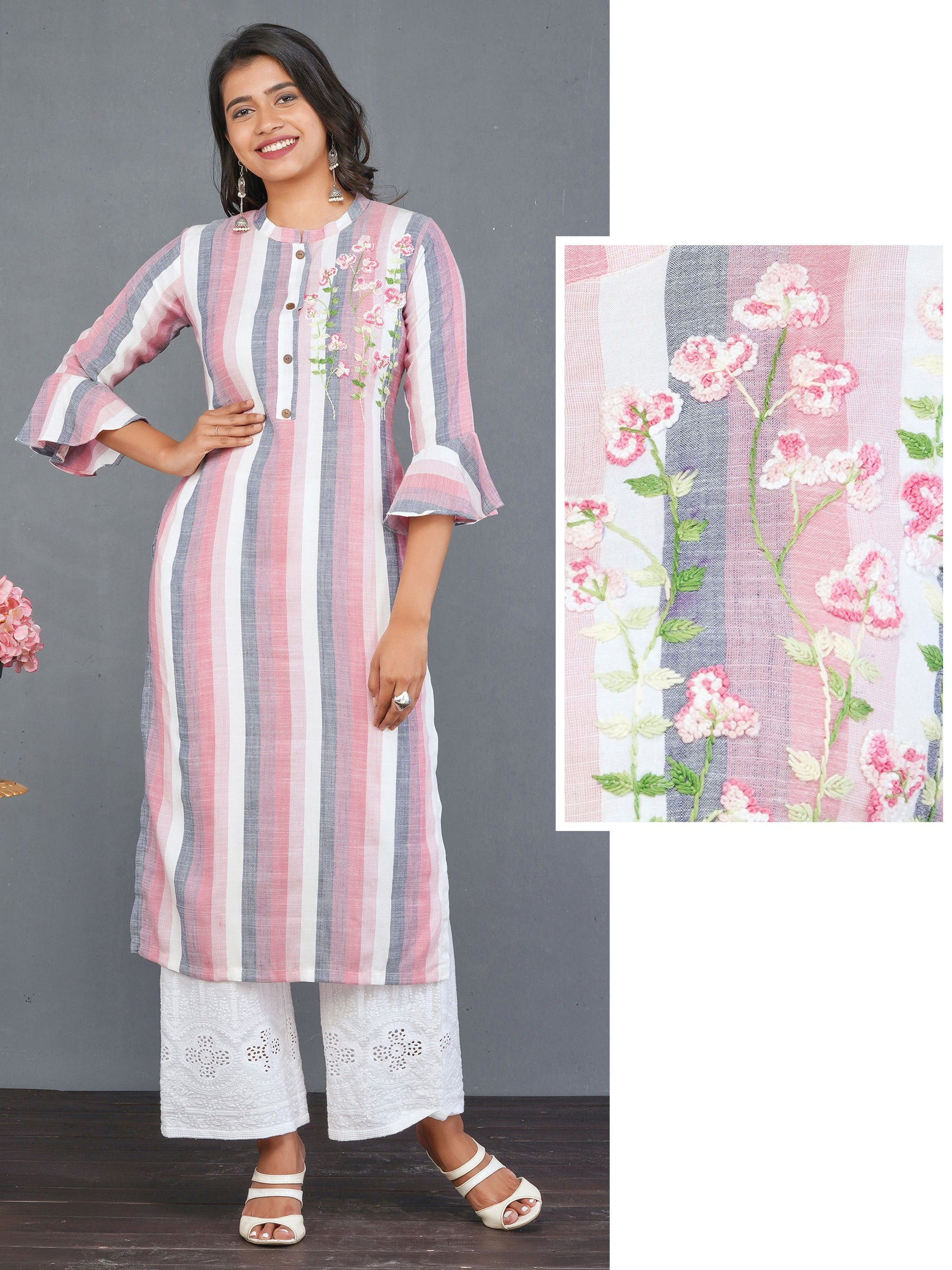 French Knot Floral Embroidered Striped Kurti – Mauve Pink