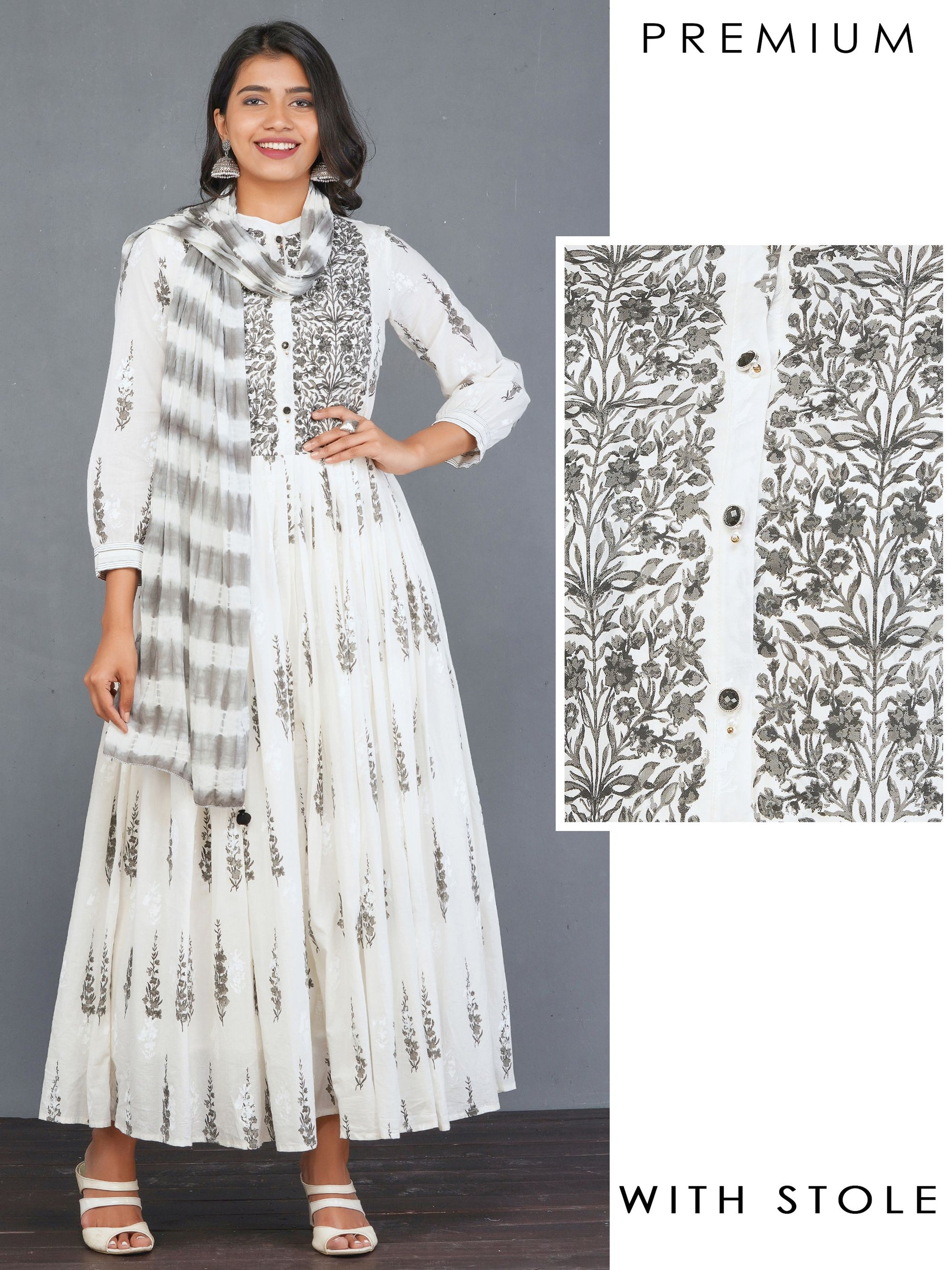 Ditsy Floral Printed, Pleated Anarkali with Tie & Dyed Stole – Charcoal Grey