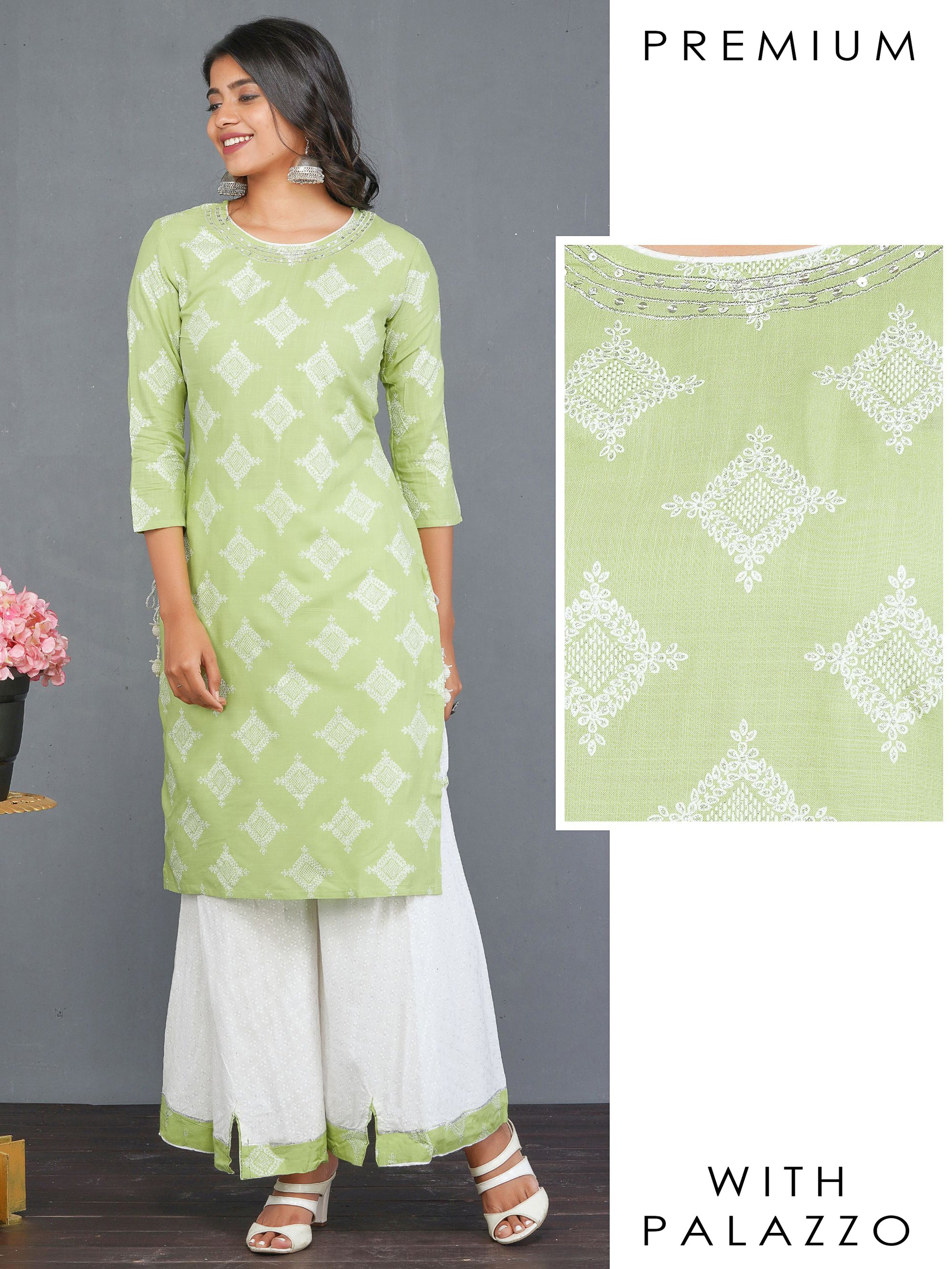 Glitter Printed & Sequins Embroidered Kurti with Bias Cut Flared Palazzo – Pista Green