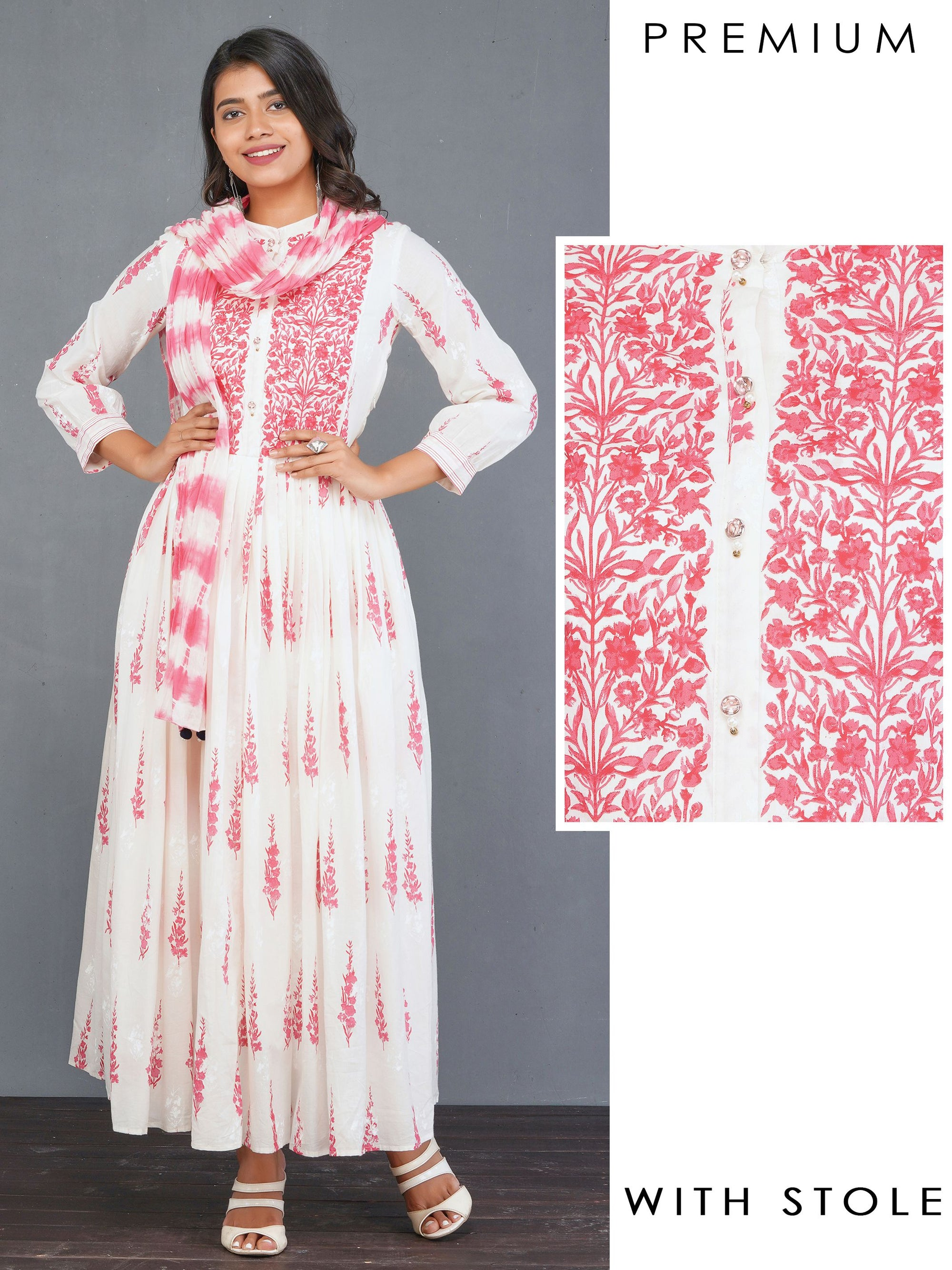 Ditsy Floral Printed Pleated Anarkali with Tie & Dyed Stole – Rani Pink