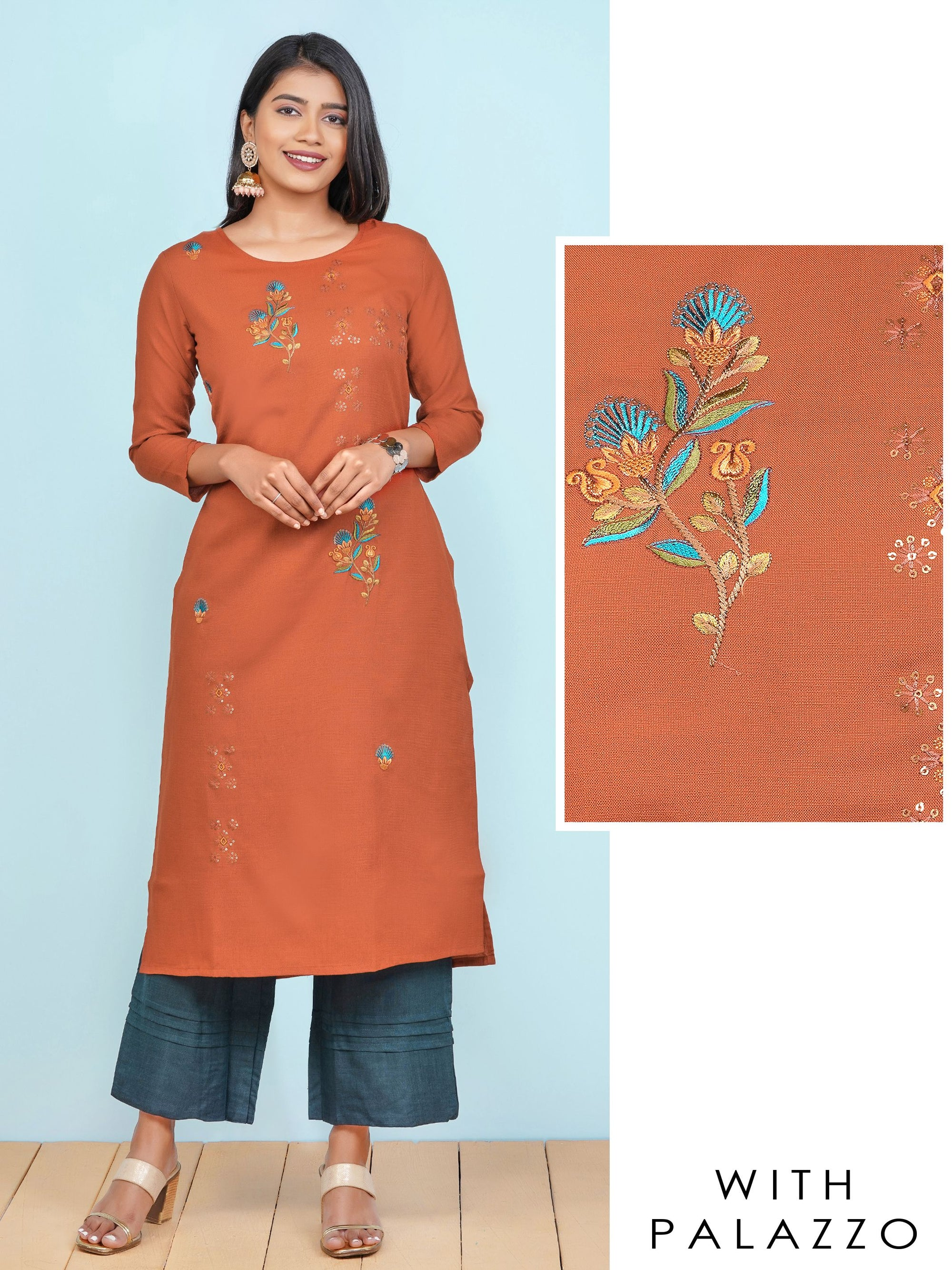 Floral Embroidered Kurti with Solid Pin Tucked Palazzo