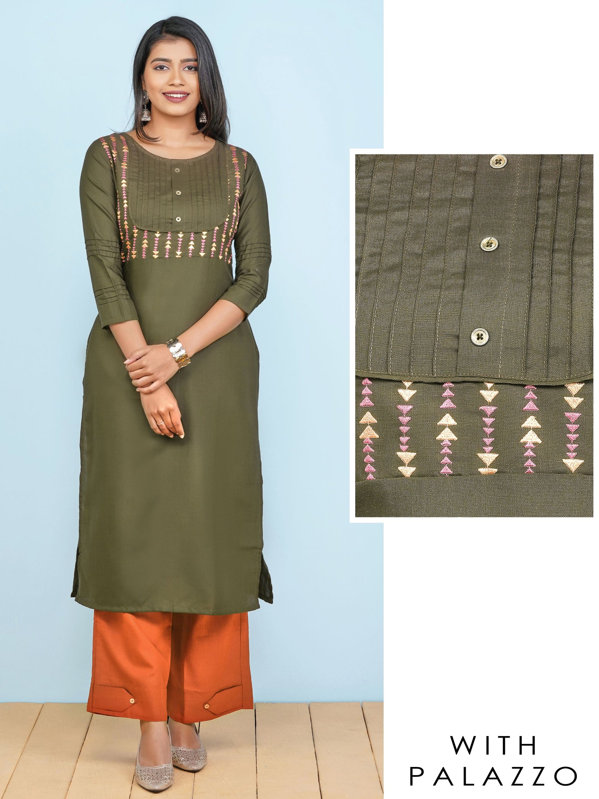 Minimal Arrow Embroidered Kurti with Solid Palazzo