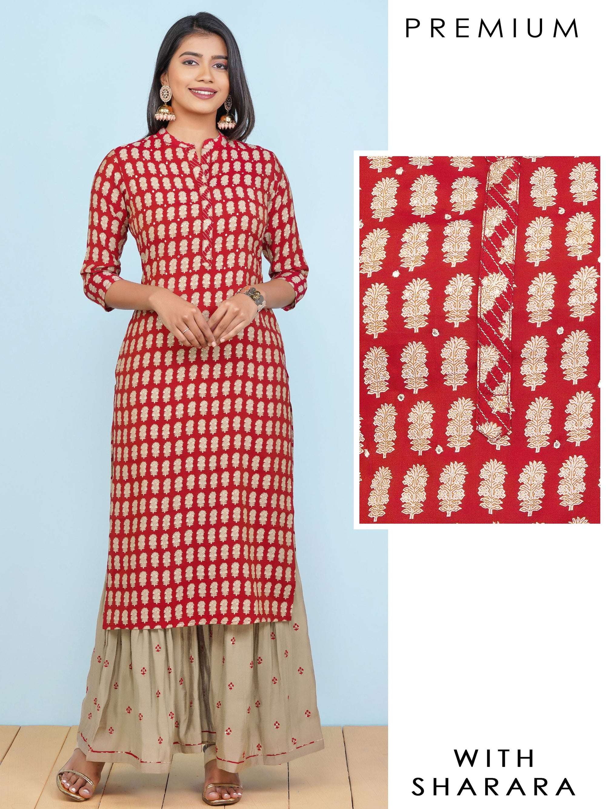 Floral Khari Printed Kurti  & Sequins Embroidered Sharara Set – Scarlet Red