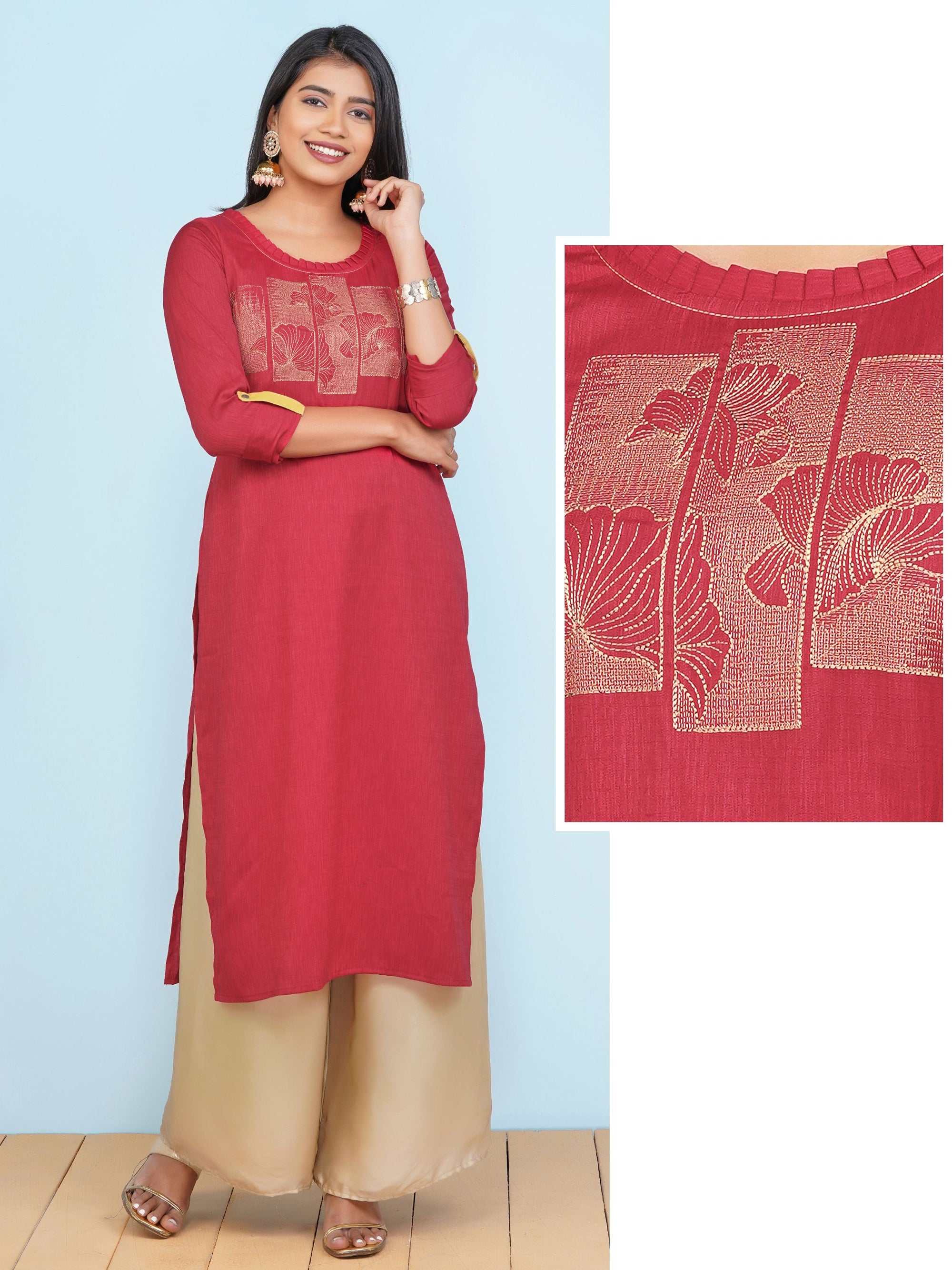 Placement Embroidered Solid Kurti