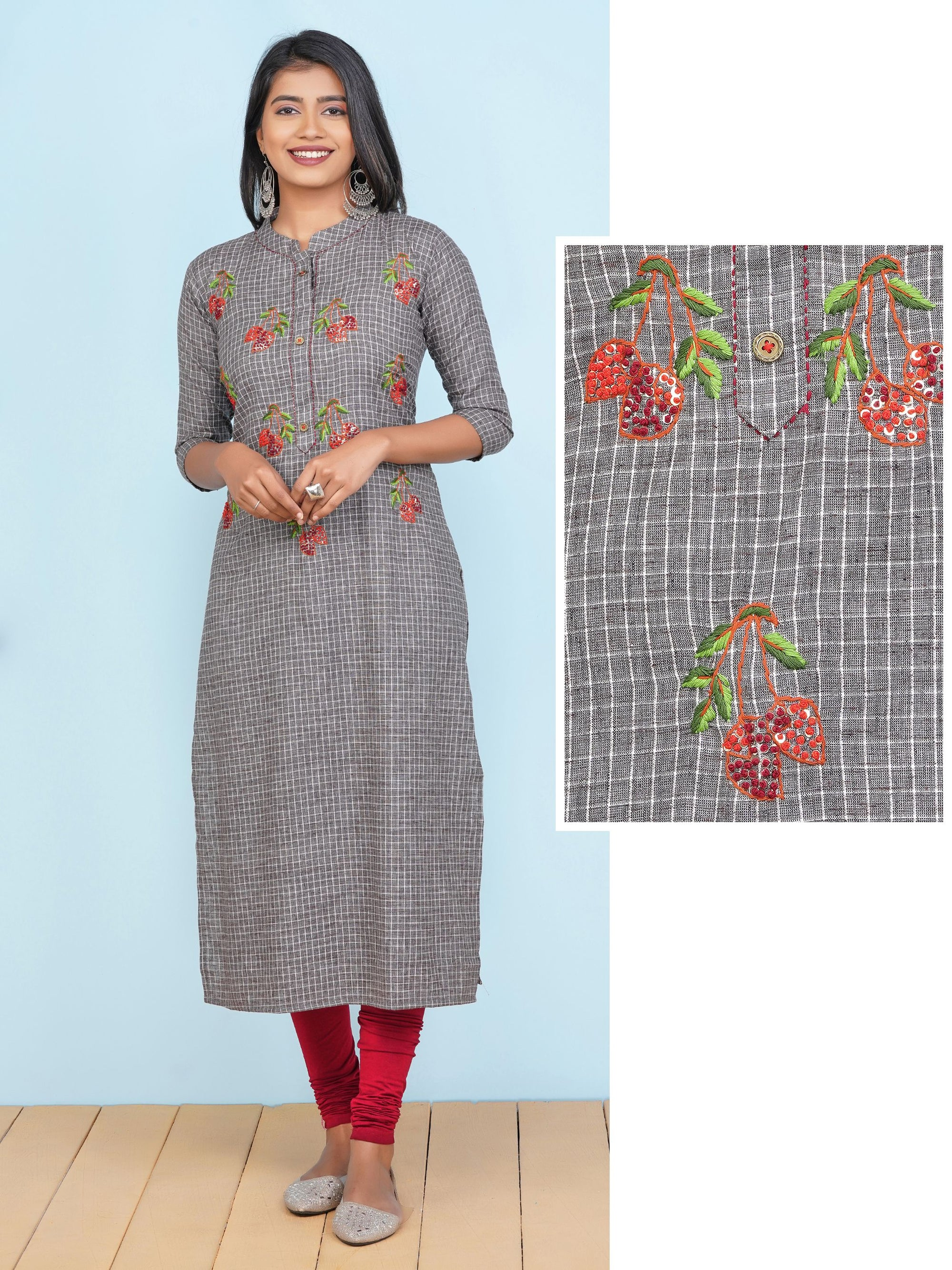 French Knot Cherry Embroidered & Checkered Kurti