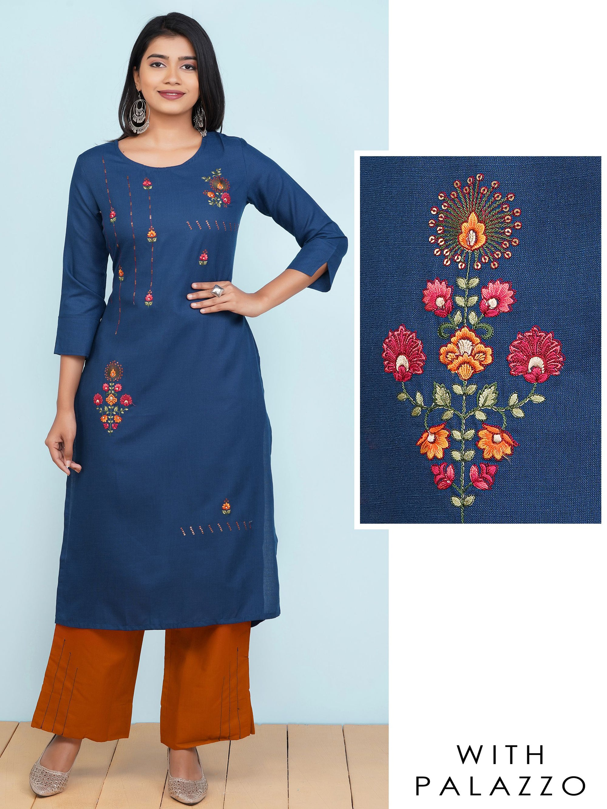 Minimal Floral Embroidered Kurti with Running Stitched Palazzo