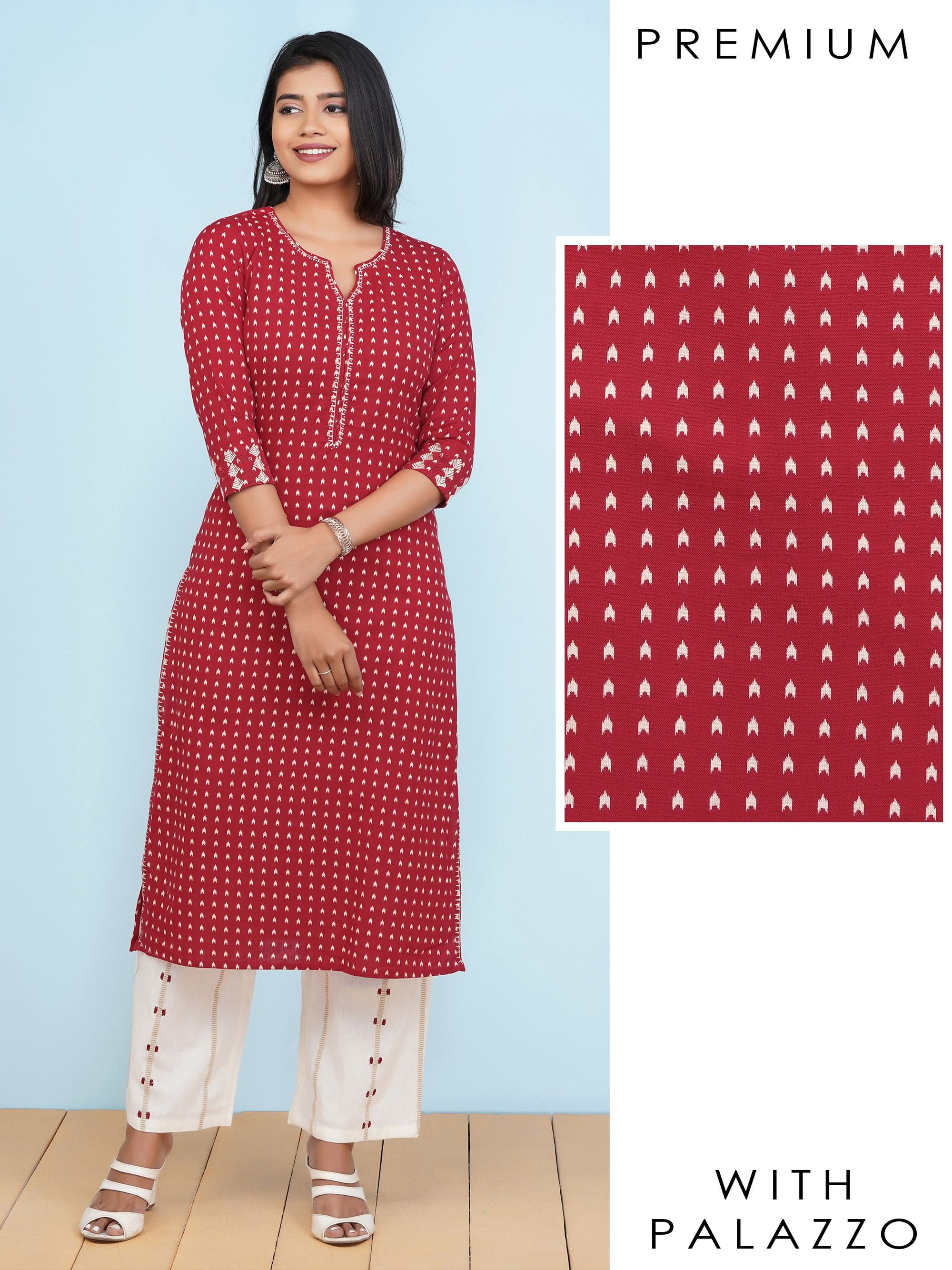 Ikkat Printed Kurti with Embroidered & Striped Palazzo Set – Red