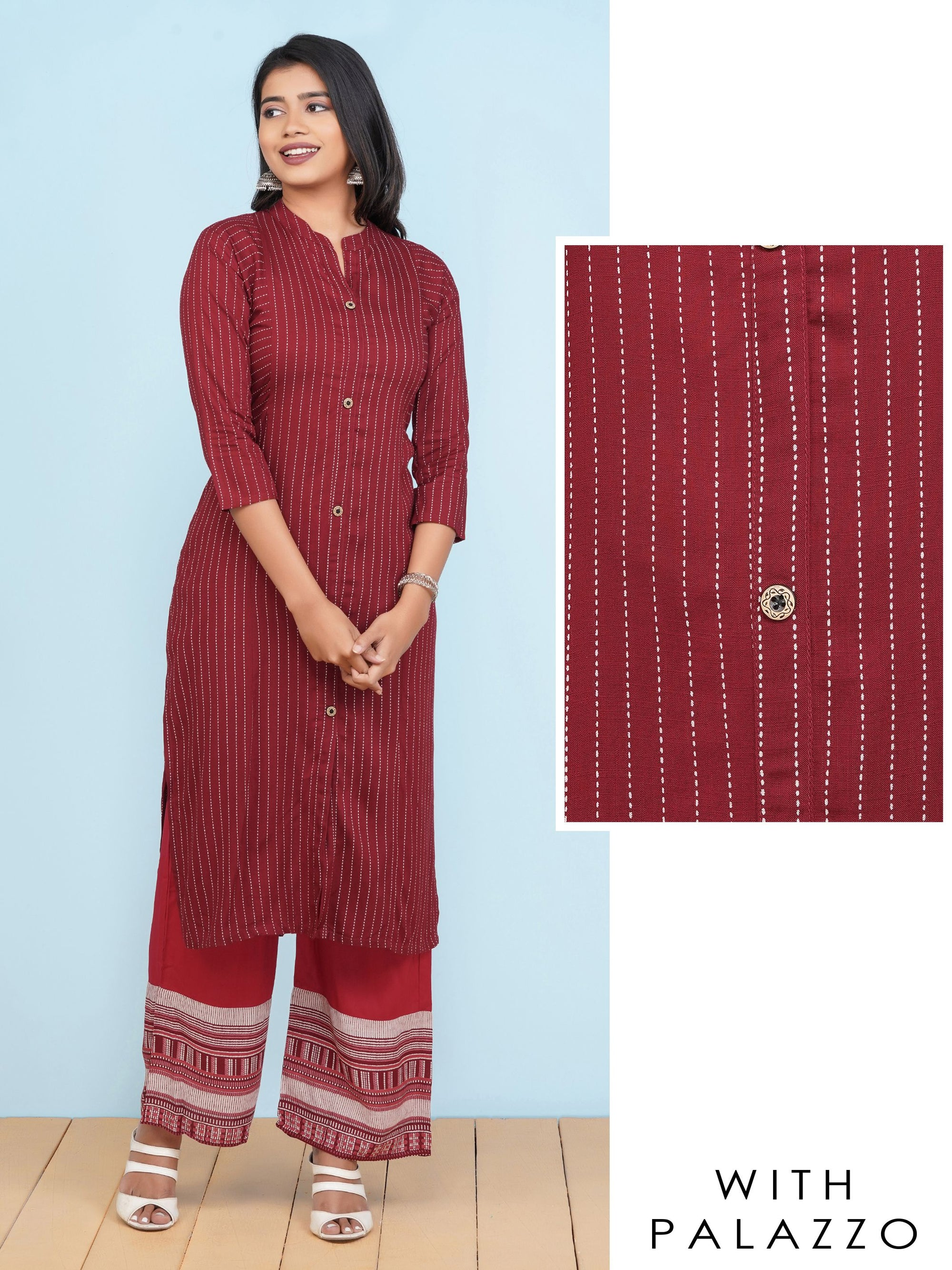 Striped Printed Kurti with Palazzo Set – Brick Red