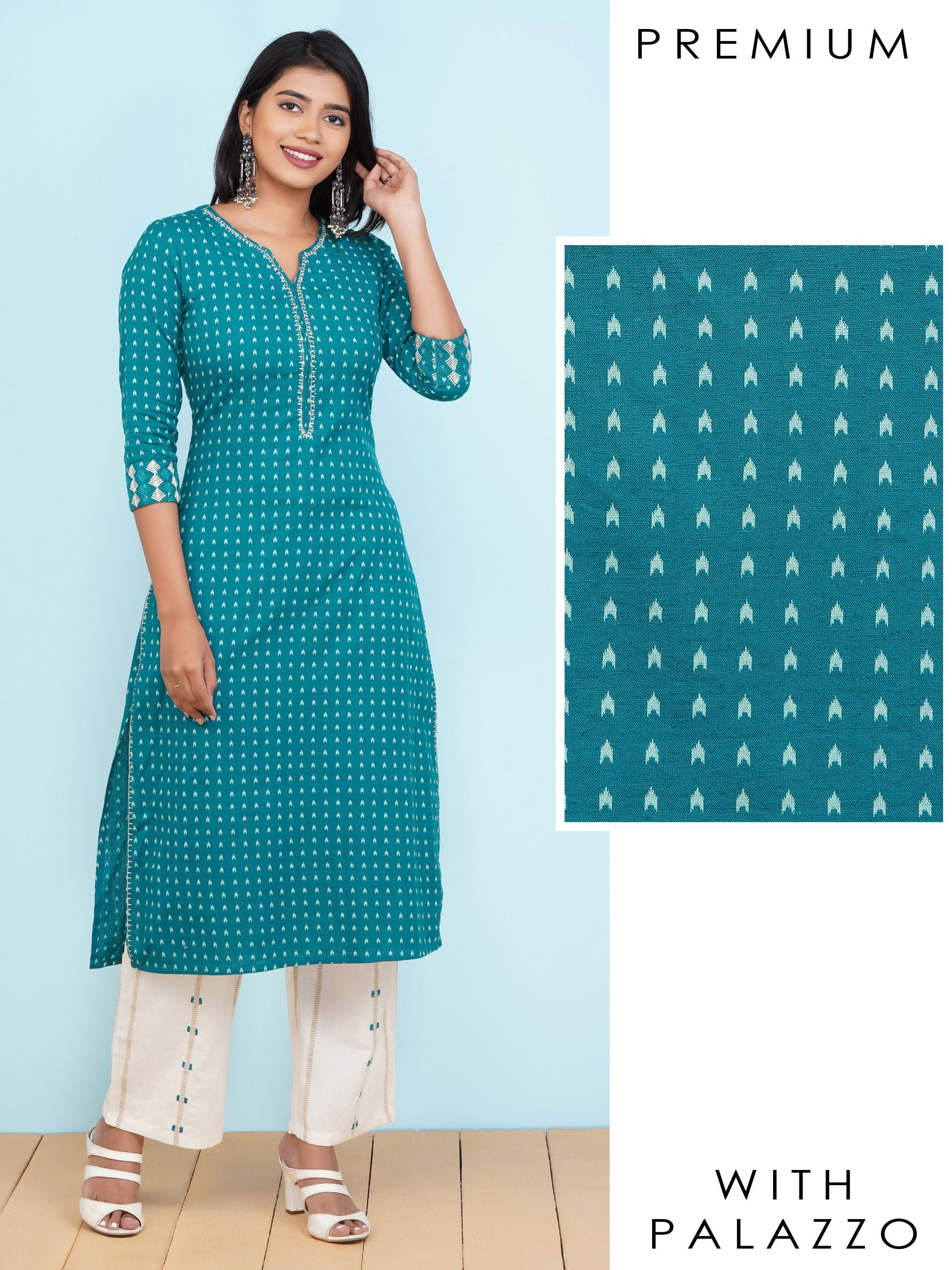 Ikkat Printed Kurti with Embroidered & Striped Palazzo Set – Teal