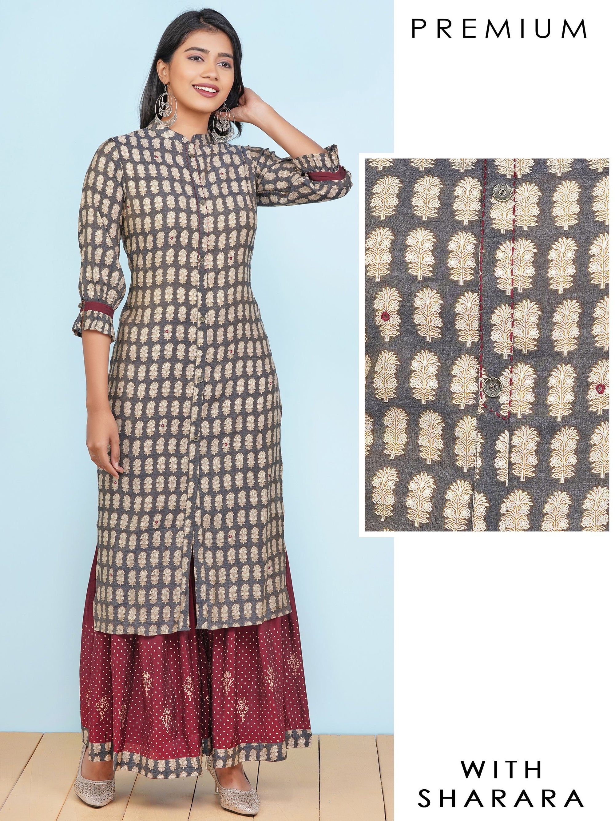 Floral Khari Printed Kurti  & Dotted Sharara Set – Charcoal Grey