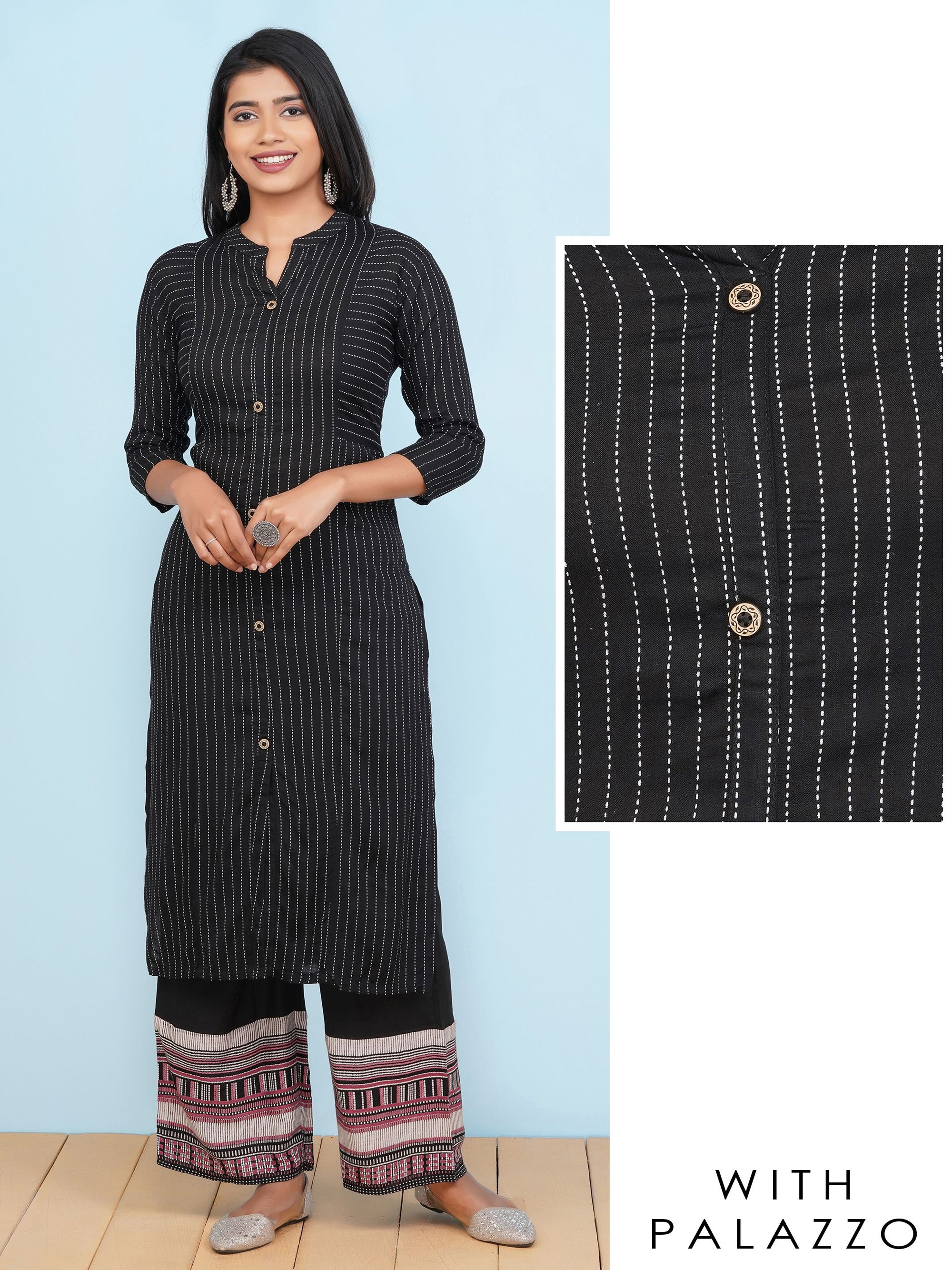Striped Printed Kurti with Palazzo Set – Black