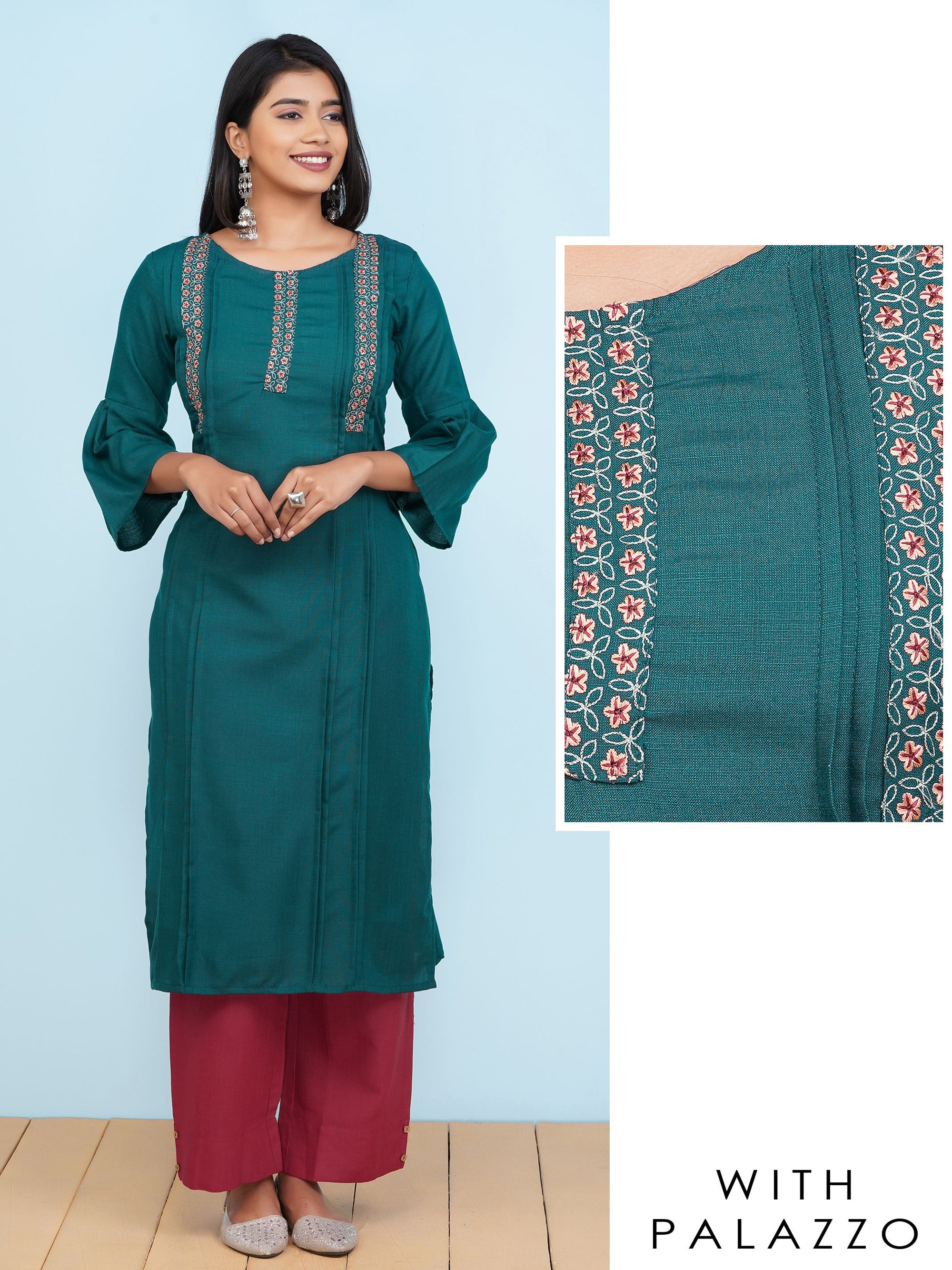 Minimal Floral Embroidered Pin Tucked Kurti with Solid Palazzo