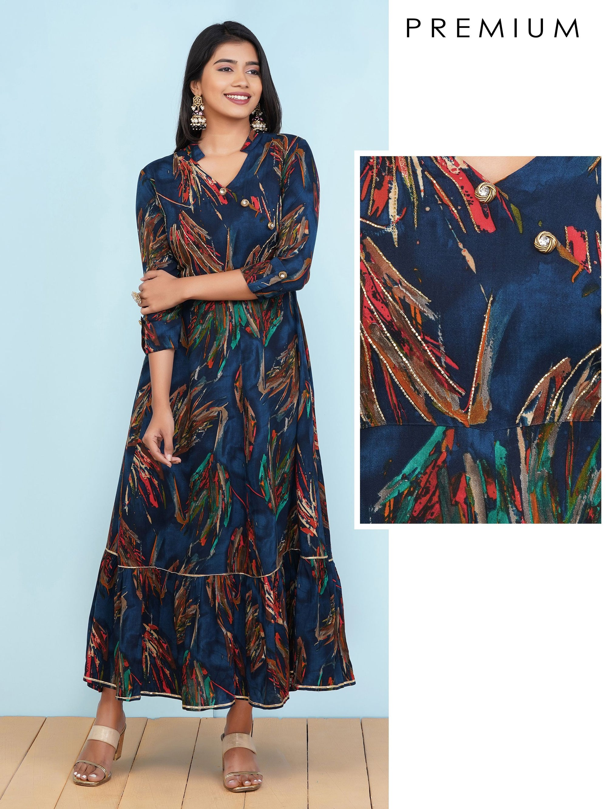 Printed Maxi with Tubelight Work & Gota Details – Navy Blue