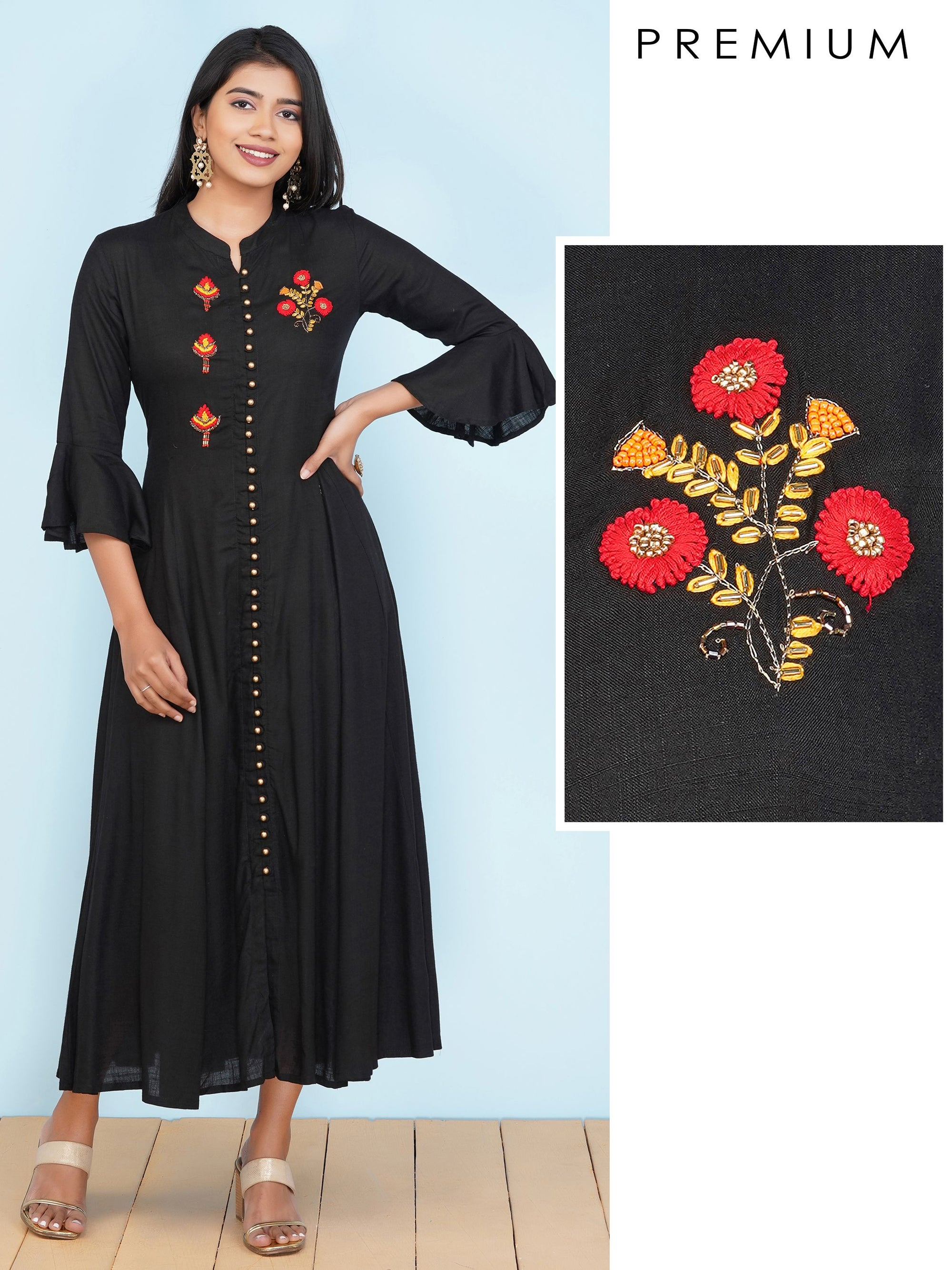Embossed Embroidered & Cutdana Detailed Premium Kurti