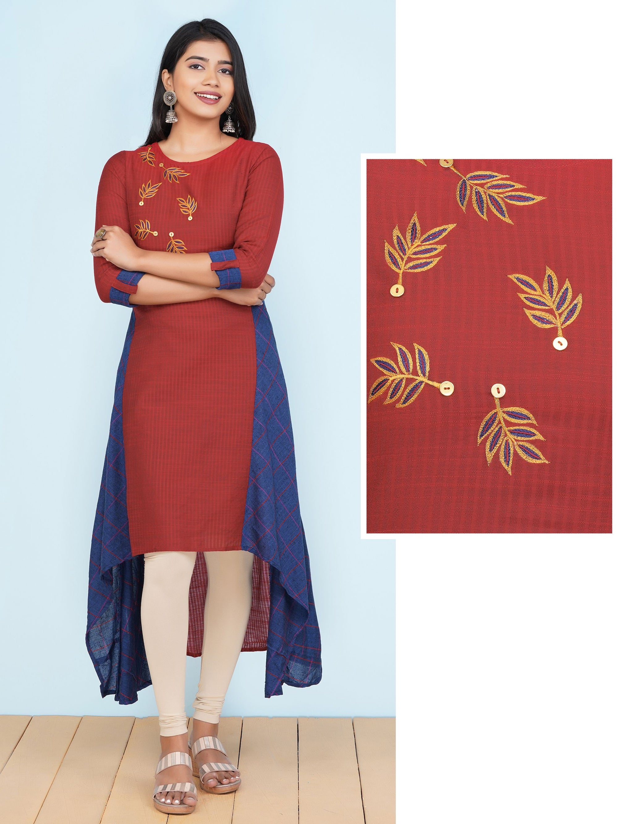 Indowestern A-Line Kurti with Leaf Embroidery