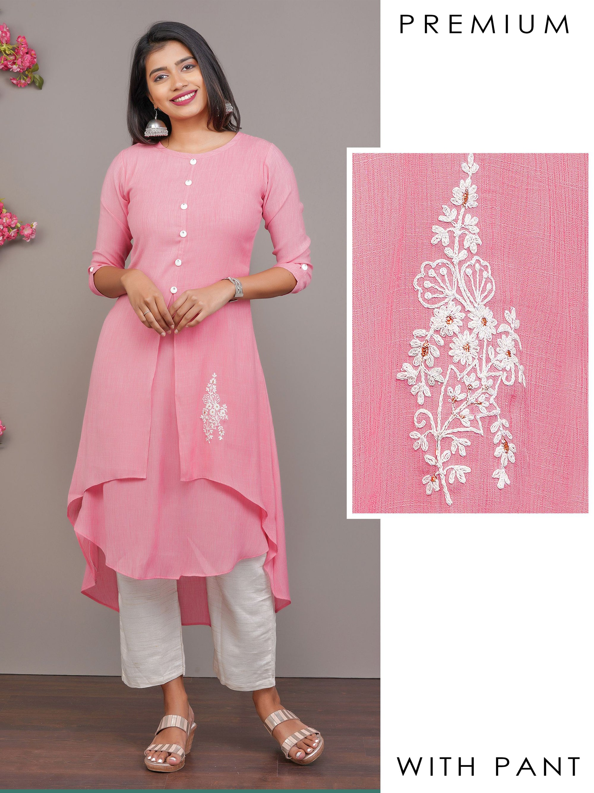 Minimal Embroidered High-Low Layered Kurti & Parallel Pant Set