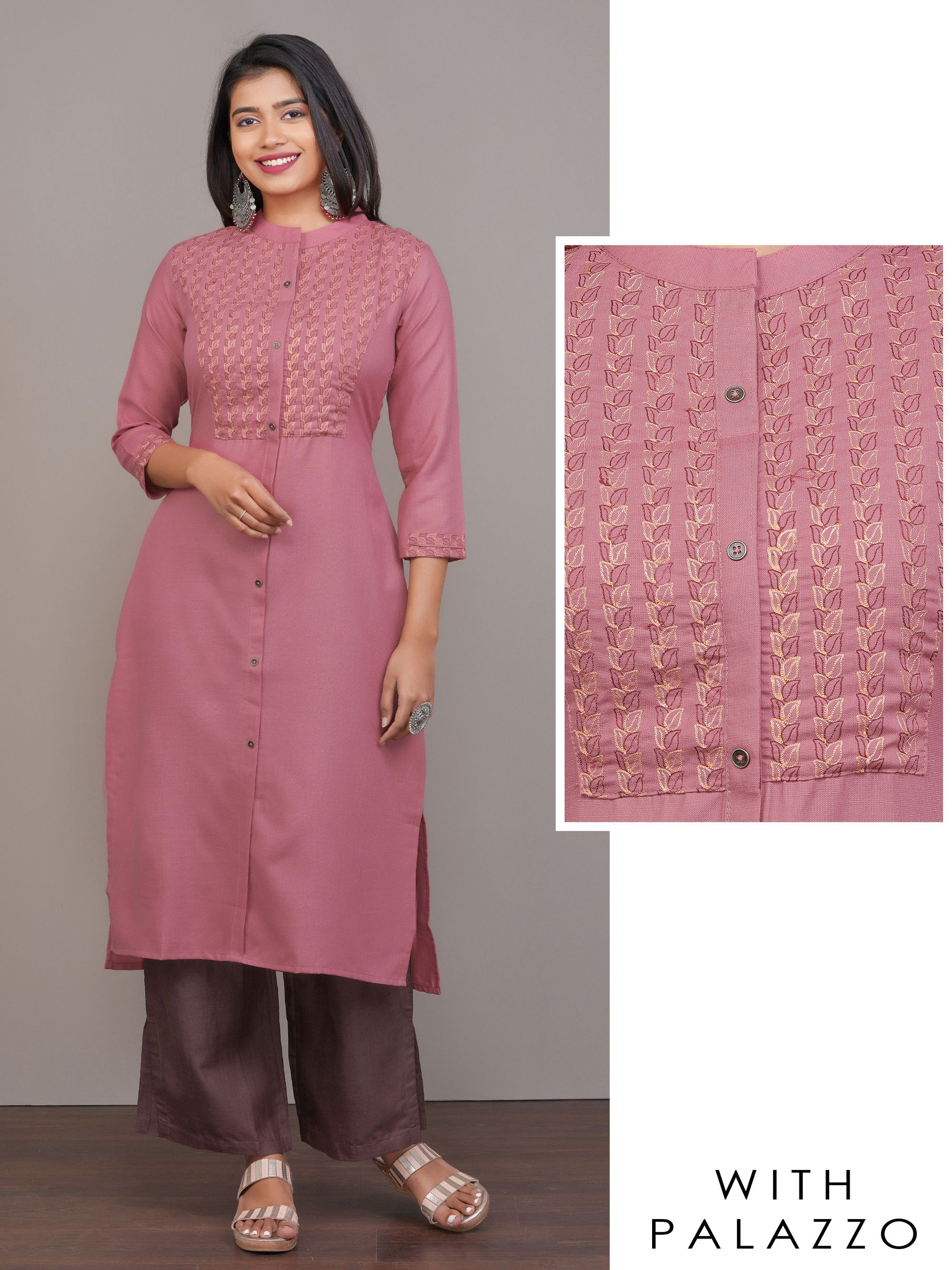 Minimal Leaf Embroidered Kurti with Solid Palazzo