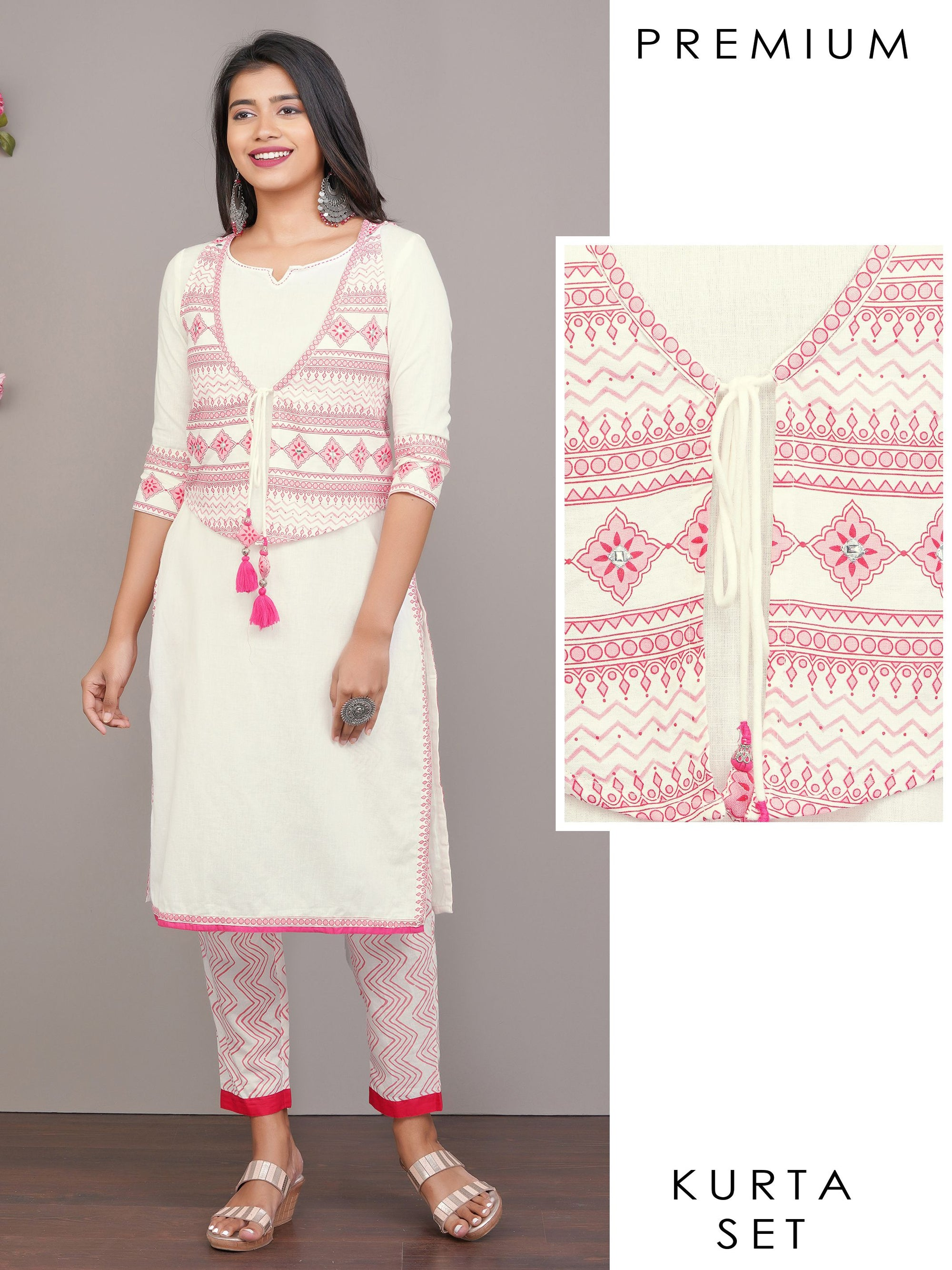 Solid Cotton Kurti & Chevron Striped Pant with Foil Mirror worked Waistcoat