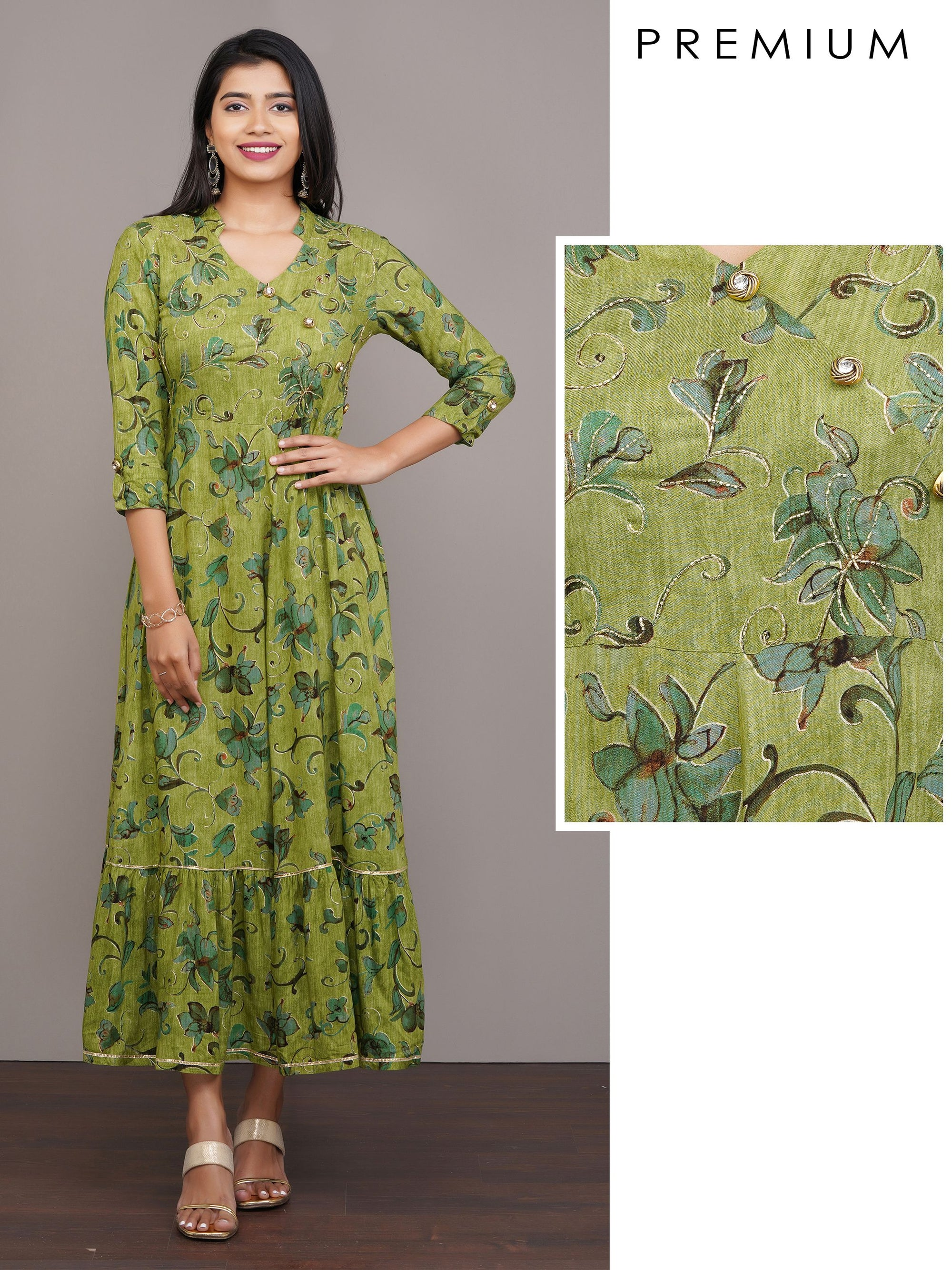 Printed Maxi with Tubelight Work & Gotta Details – Green