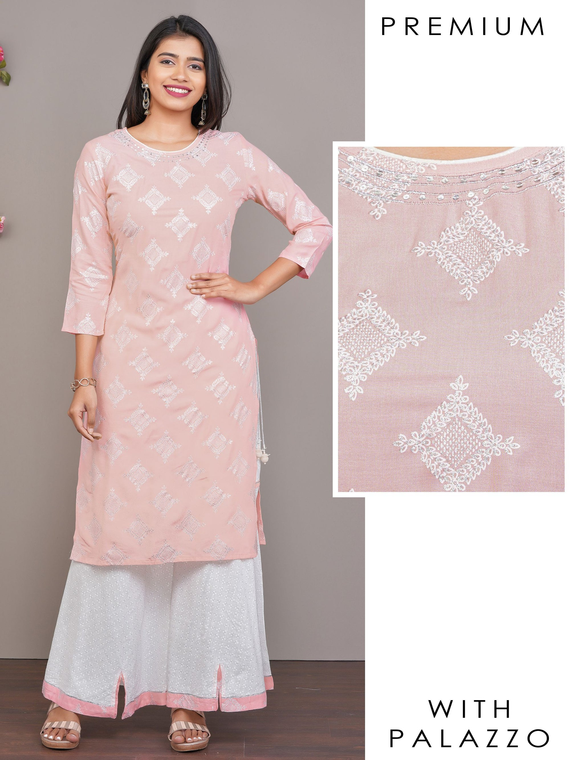 Glitter Printed & Sequins Embroidered Kurti with Bias Cut Flared Palazzo