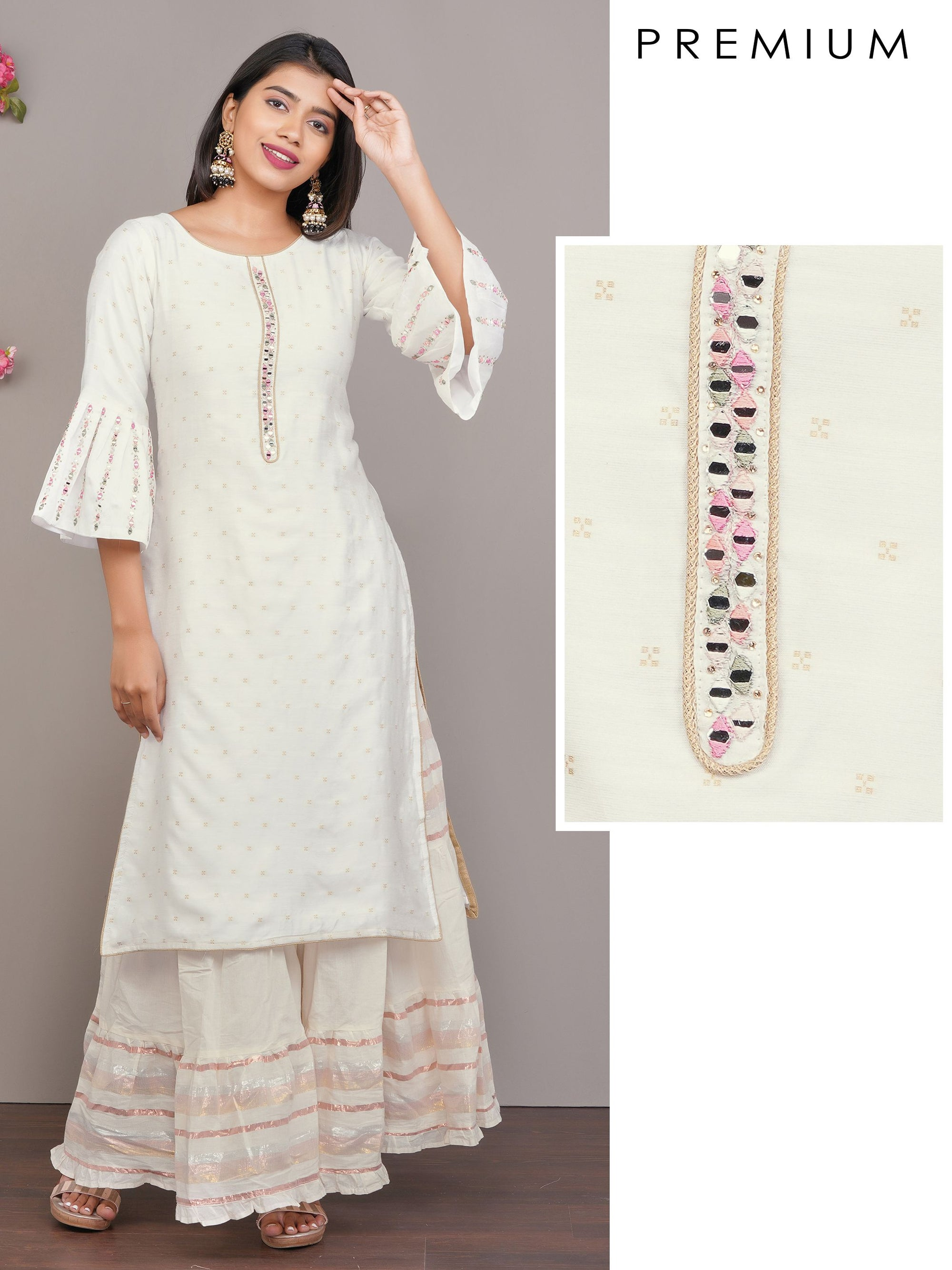 Mirror Embroidered & Minimal Printed Cotton Kurti